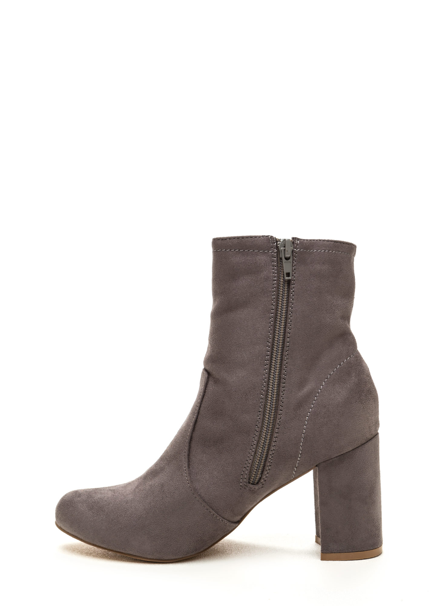 Stacked In Your Favor Chunky Booties GREY