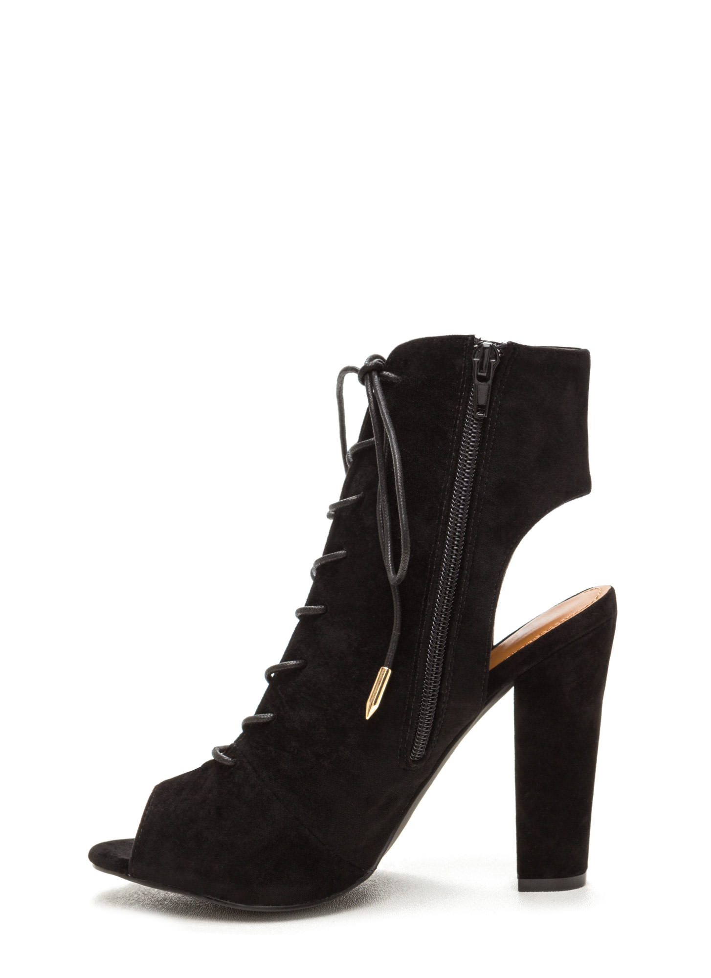Tie Game Lace-Up Faux Suede Booties BLACK