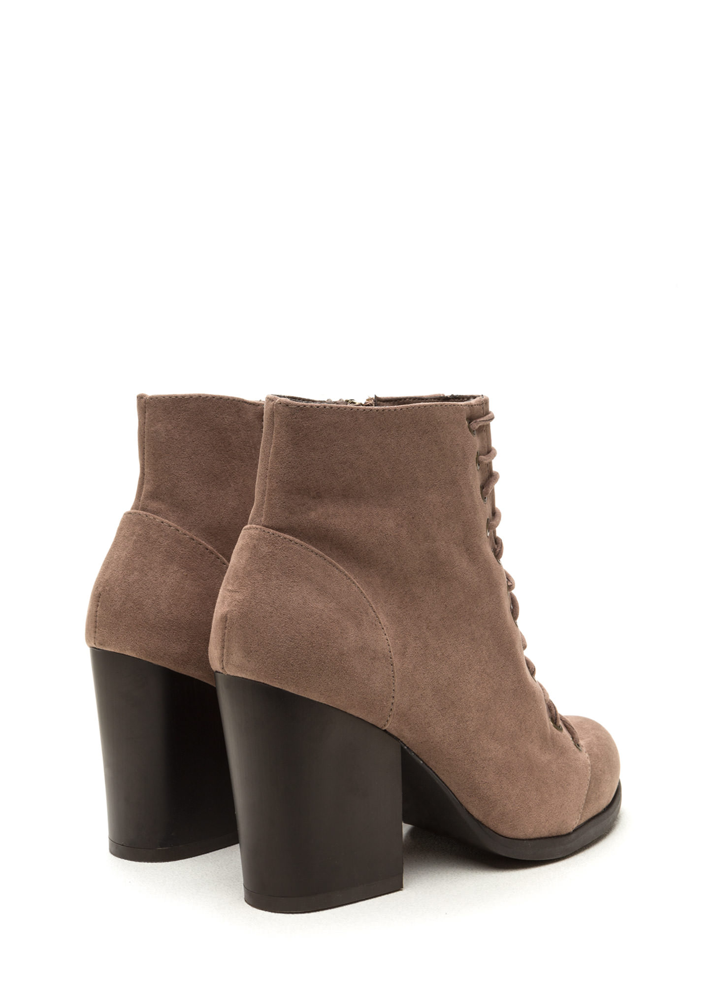 Morale Boost Laced Block Heel Booties TAUPE