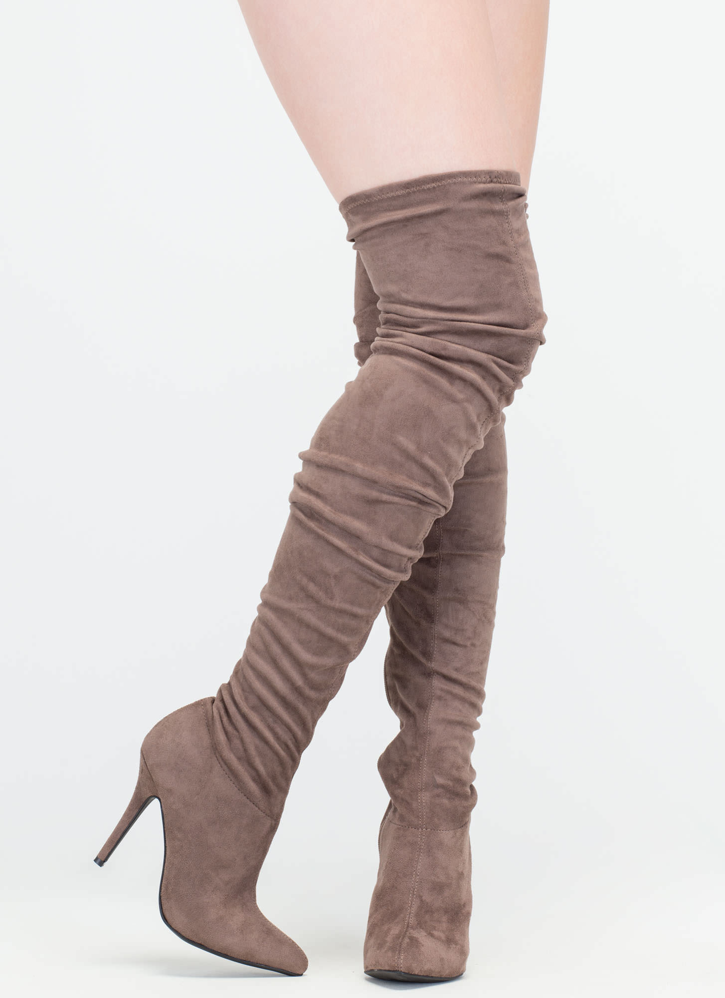 stylish slouch pointy thigh high boots black taupe