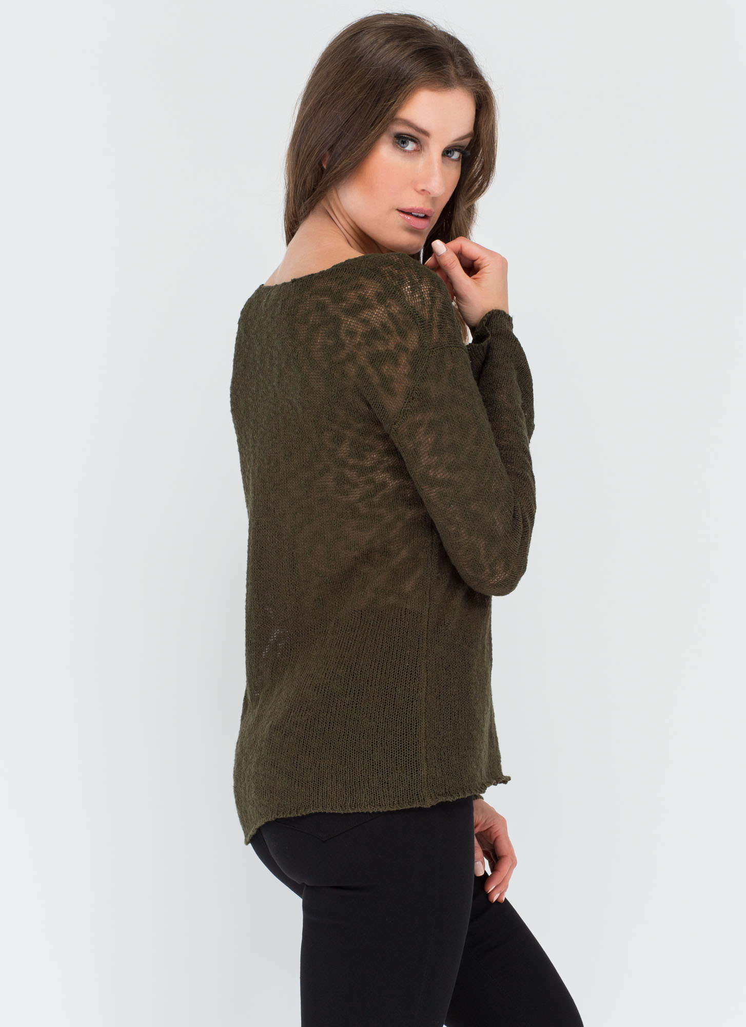 Don't Burnout Oversized Knit Sweater OLIVE