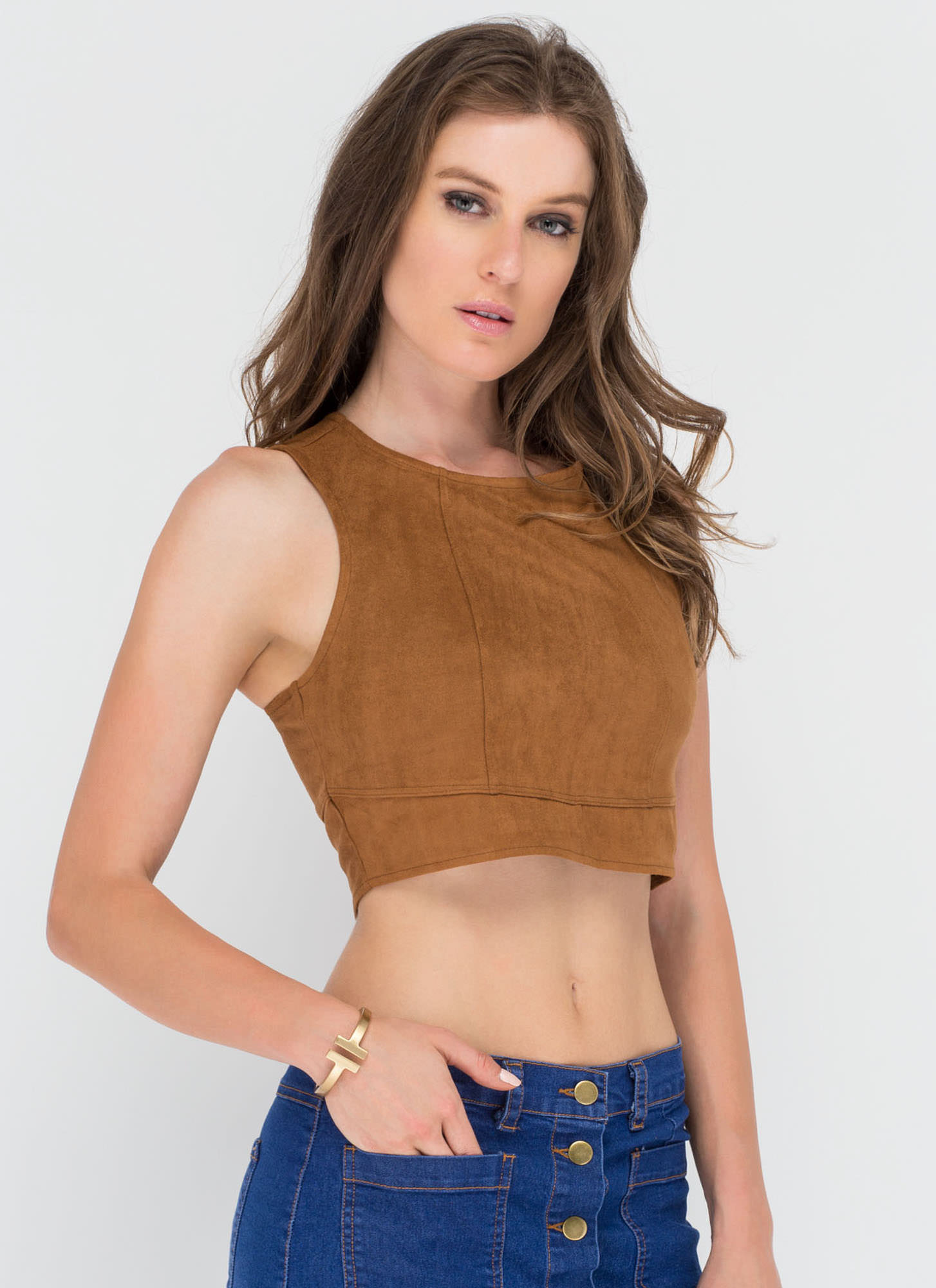 Getting The Feels Faux Suede Crop Top CAMEL