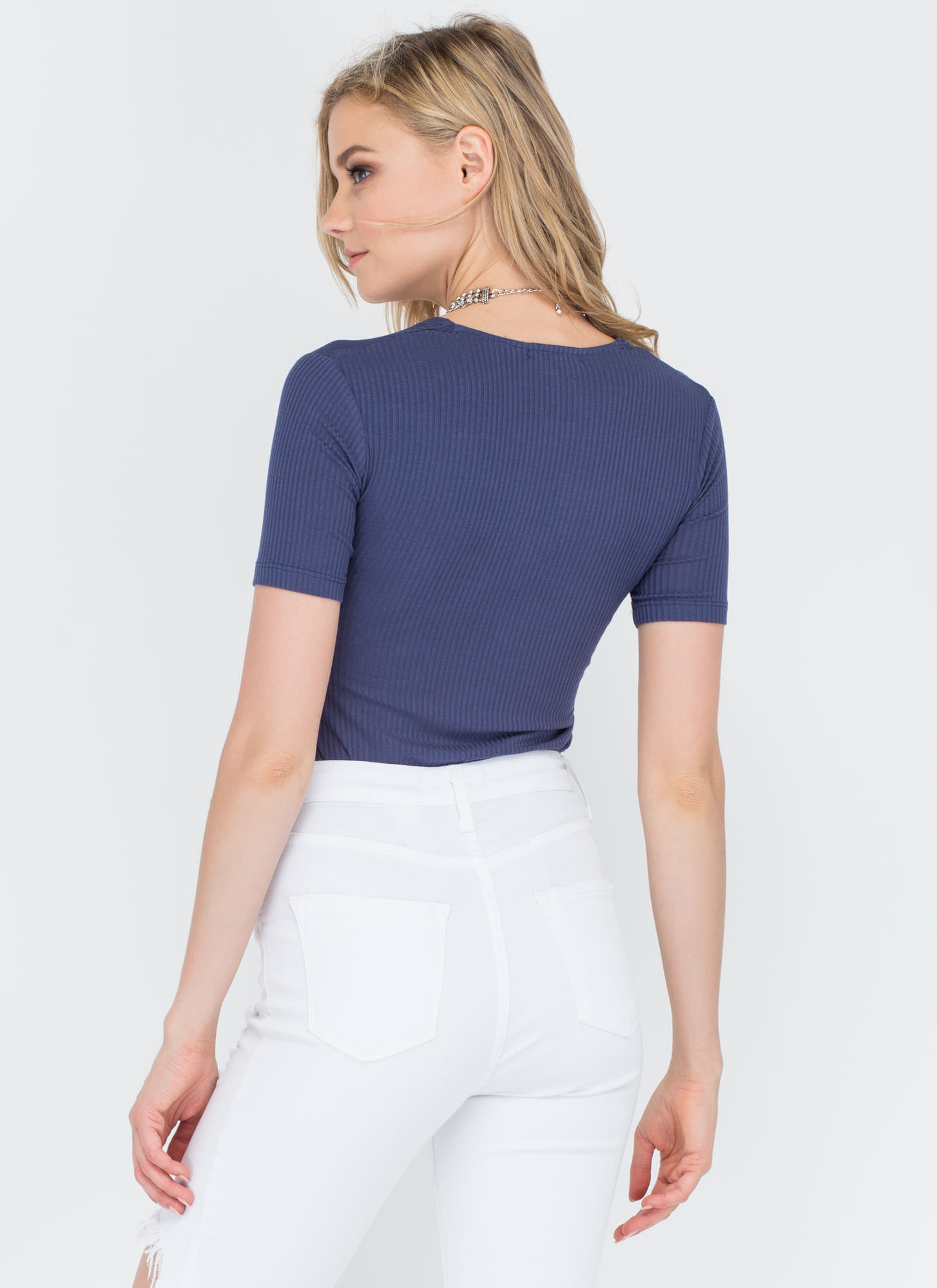 All Lined Up Ribbed V-Neck Top BLUE