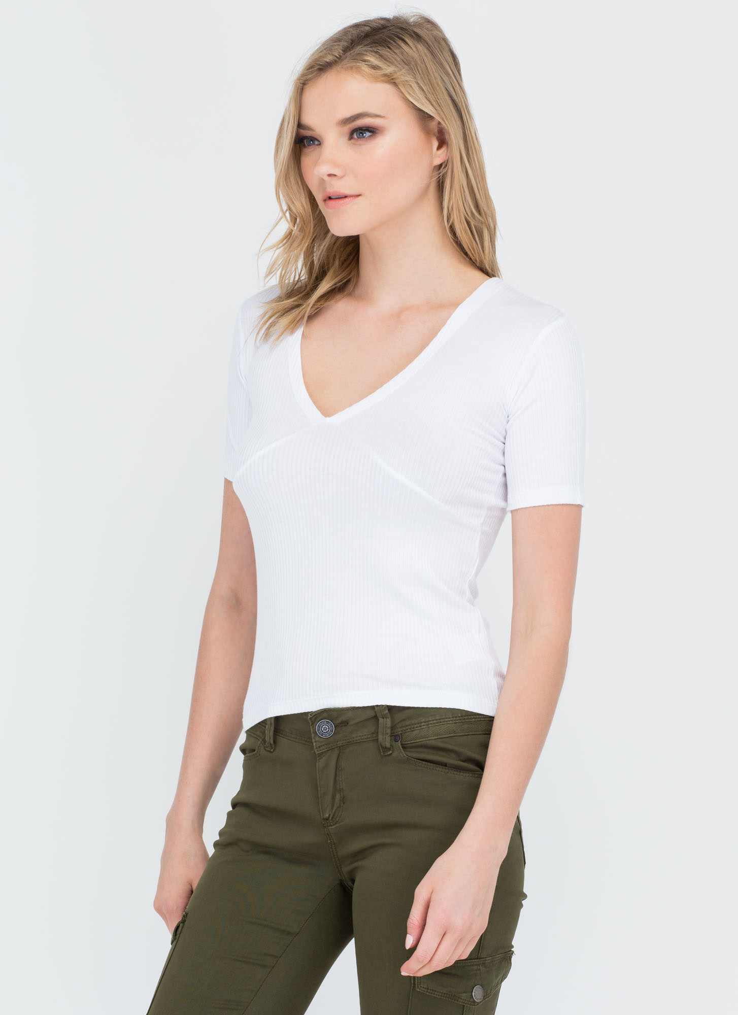 All Lined Up Ribbed V-Neck Top WHITE