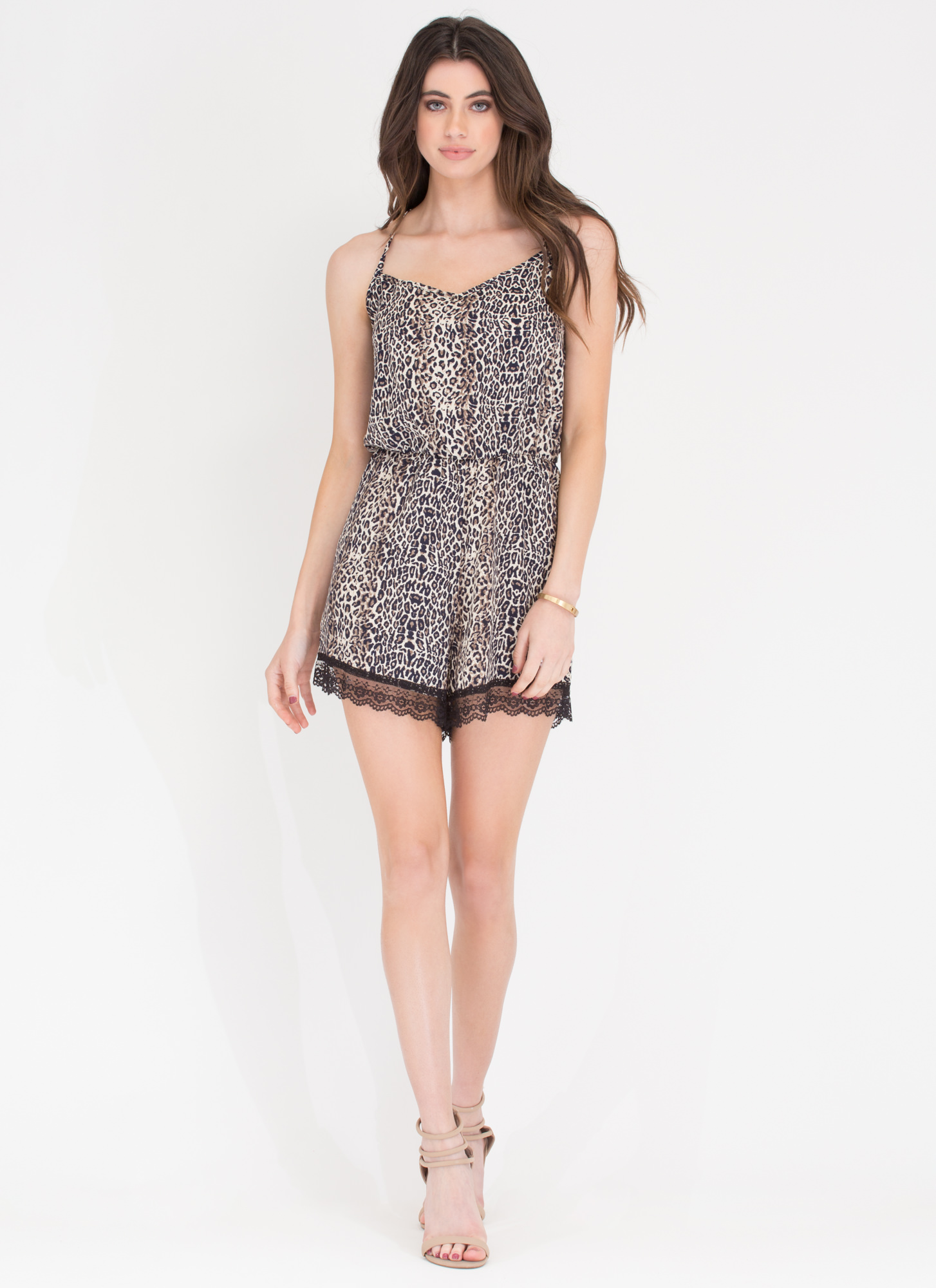 Animal Style Printed Romper LEOPARD