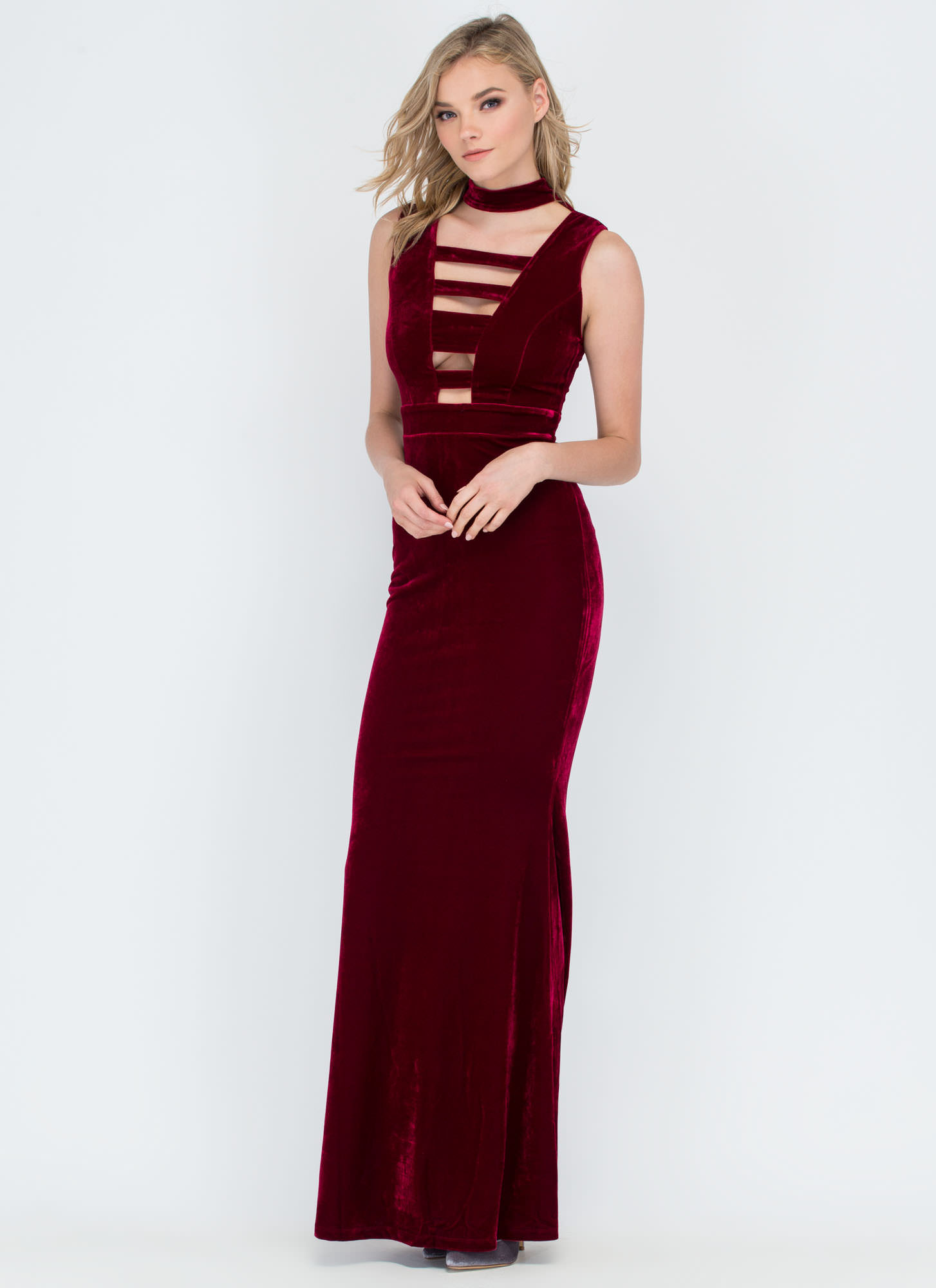 Fall In Line Cut-Out Velvet Maxi Dress WINE
