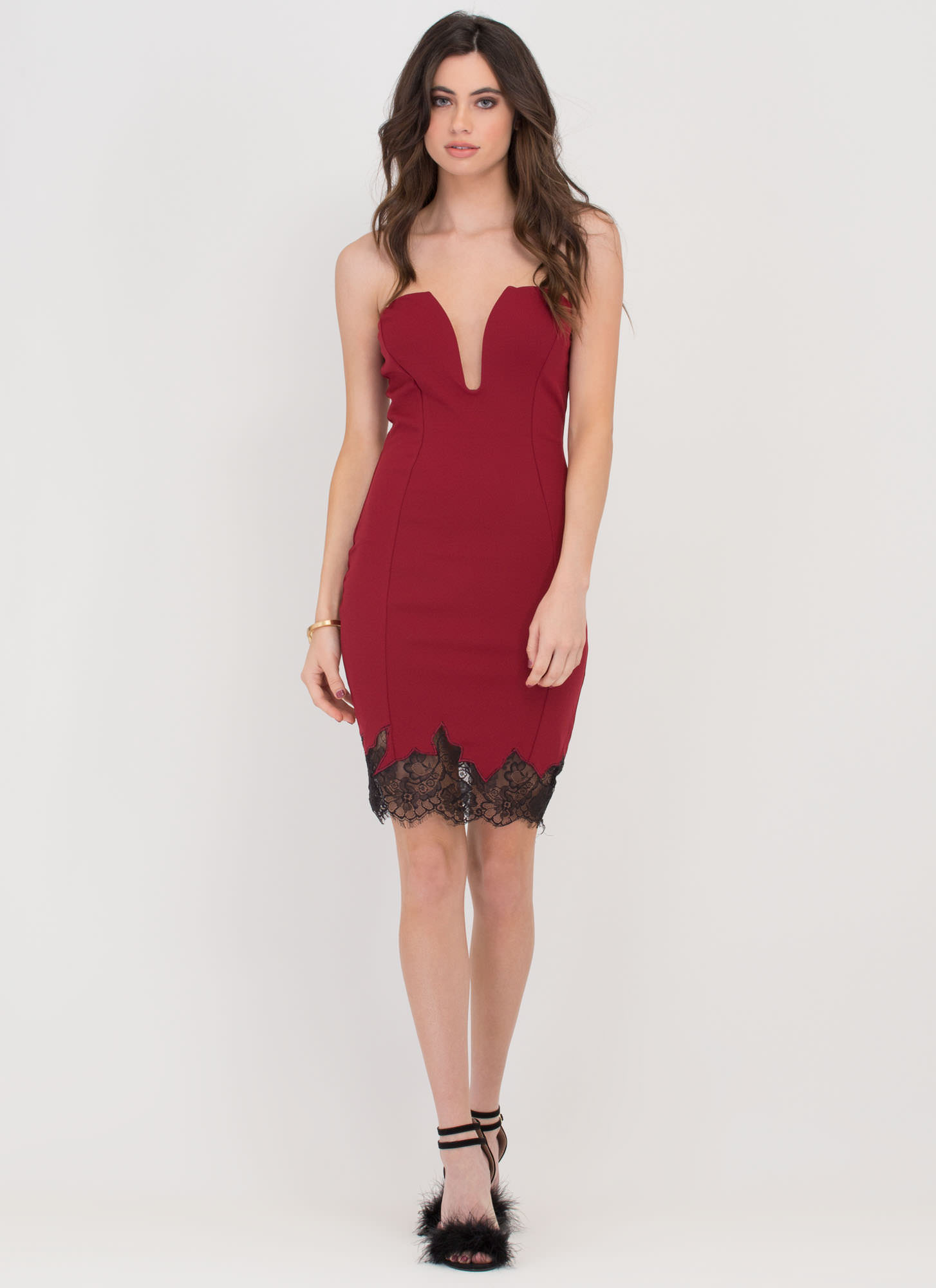 On Fire Strapless Lace Sweetheart Dress BURGUNDY