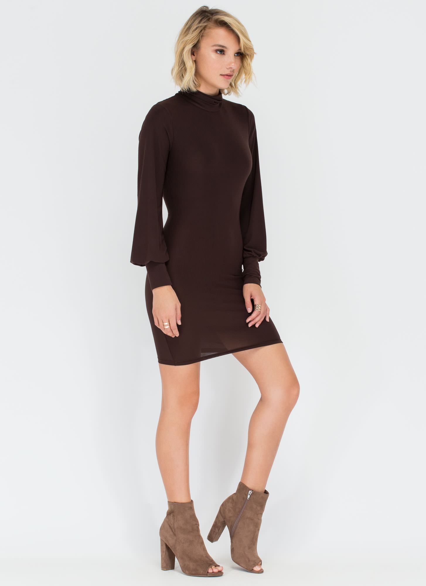 Trick Up Your Sleeves Turtleneck Dress BROWN