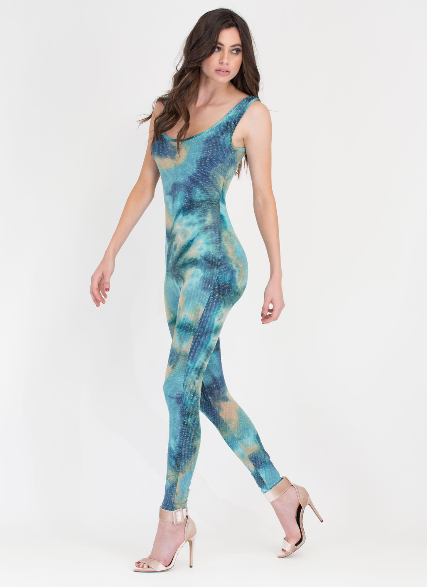 Out Of This World Sparkly Jumpsuit BLUE