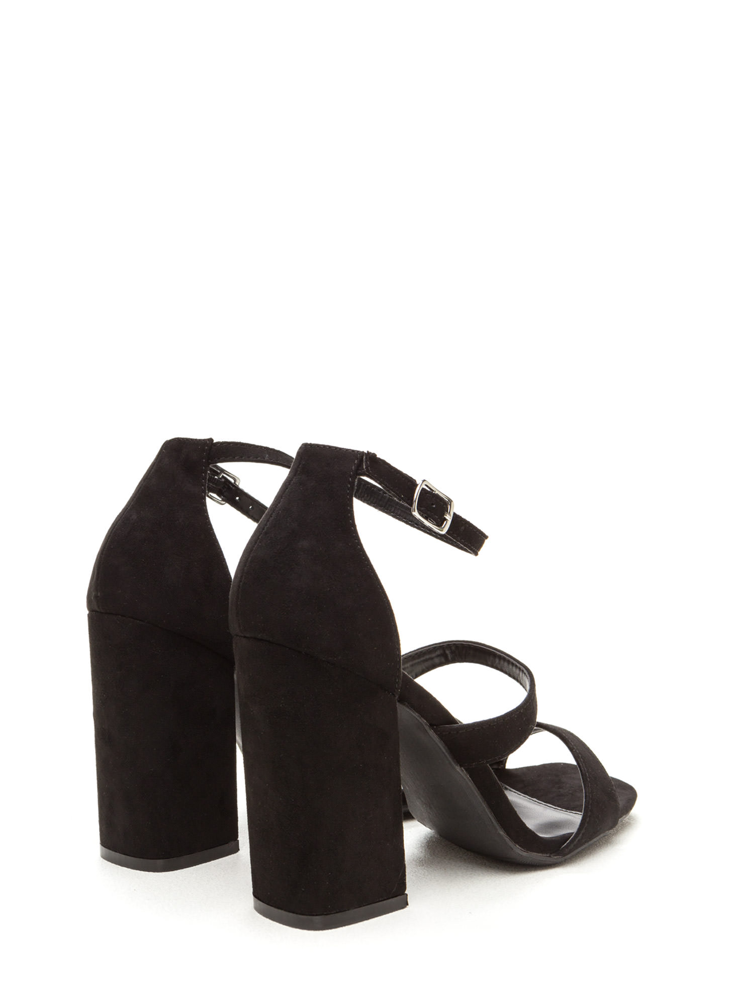 Classic Taste Strappy Faux Suede Heels BLACK