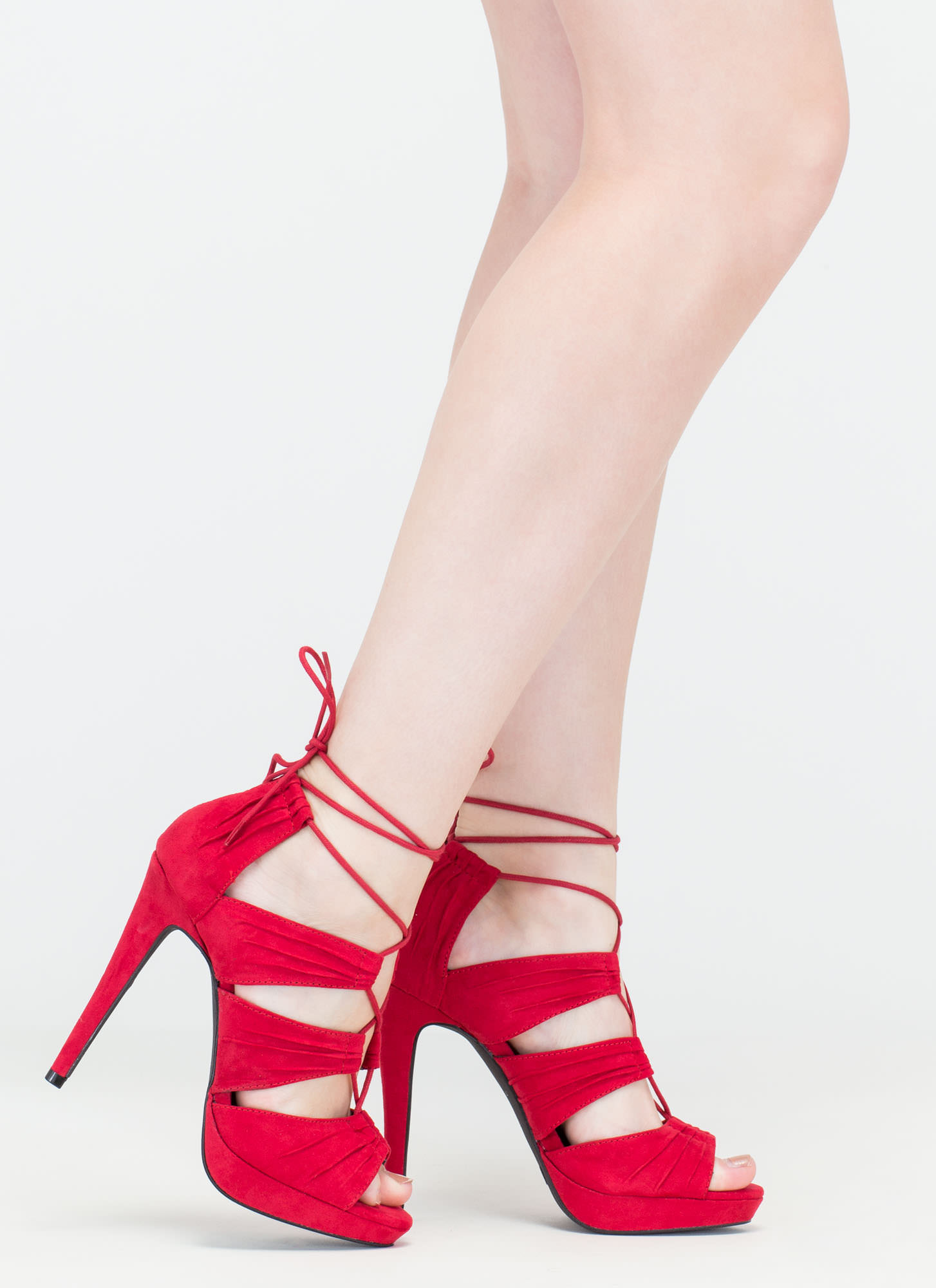 Tuck Or Treat Lace-Up Platform Heels DKRED