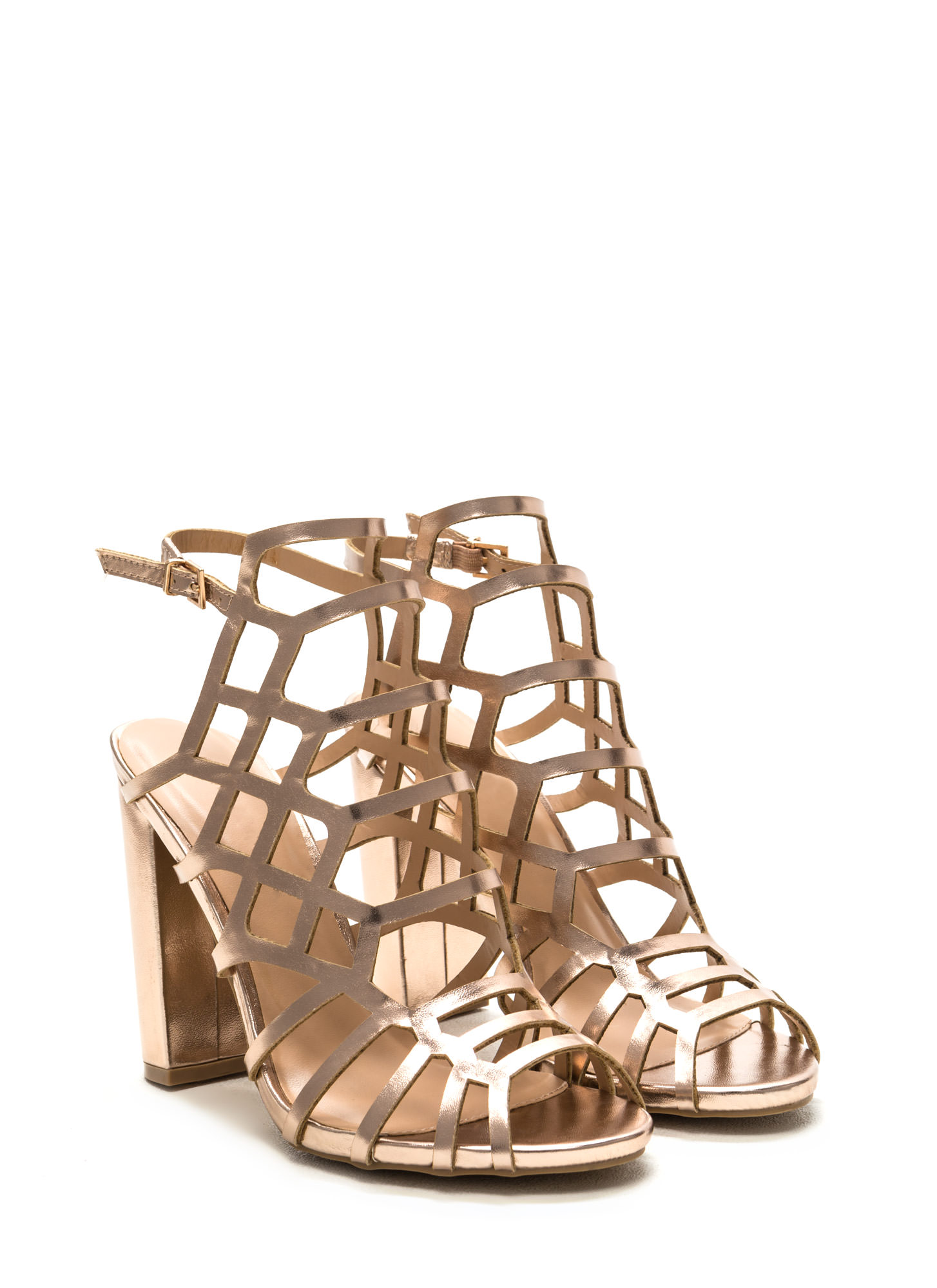 Fresh 'N Fancy Metallic Caged Heels ROSEGOLD