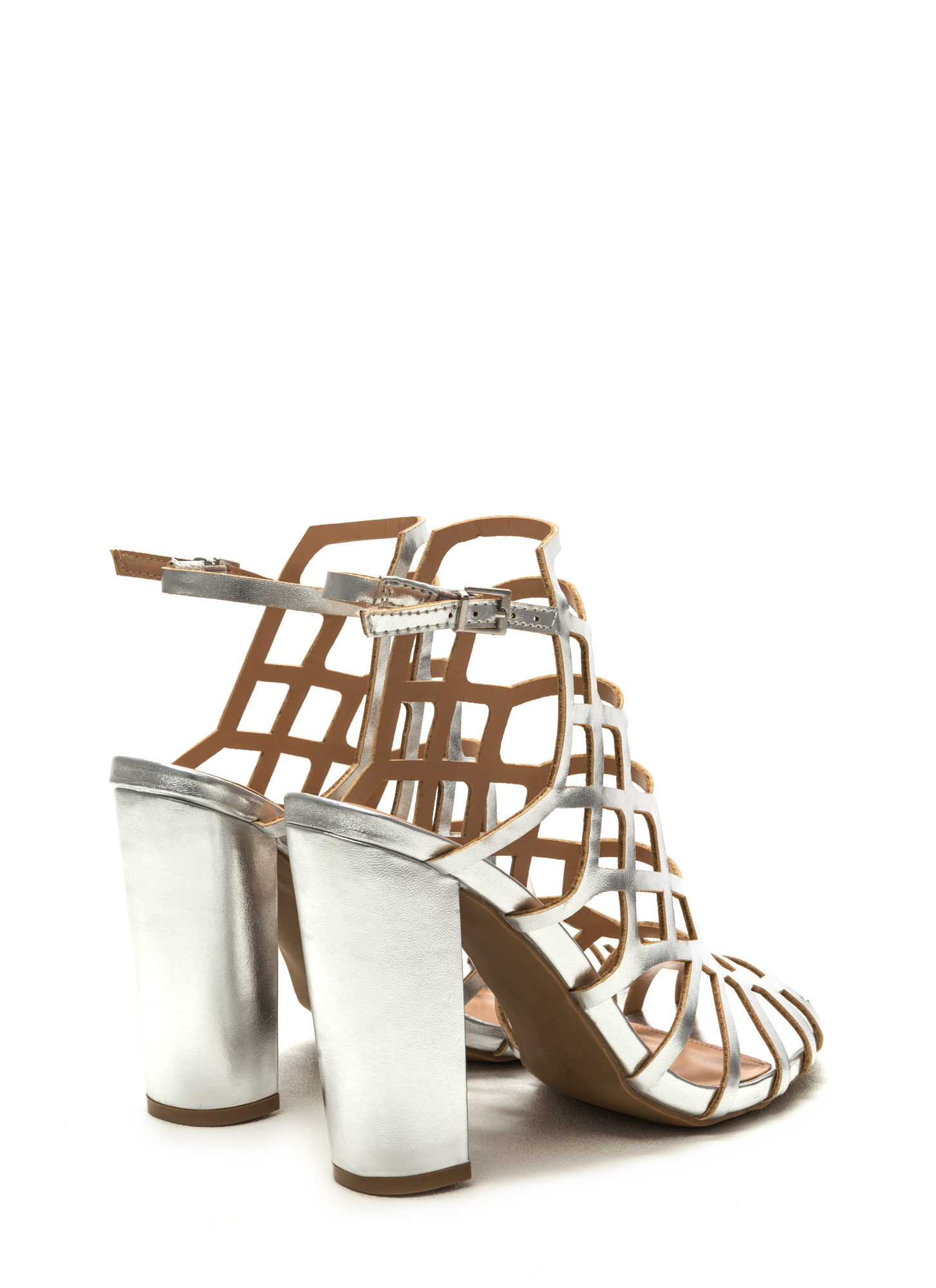 Fresh 'N Fancy Metallic Caged Heels SILVER