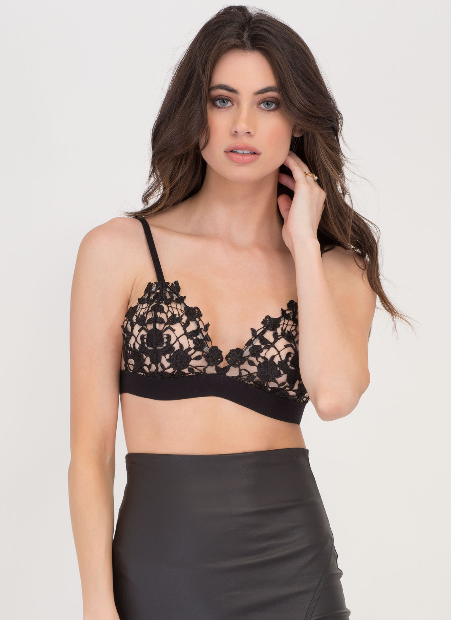 Making Romance Crochet Bra Top BLACK
