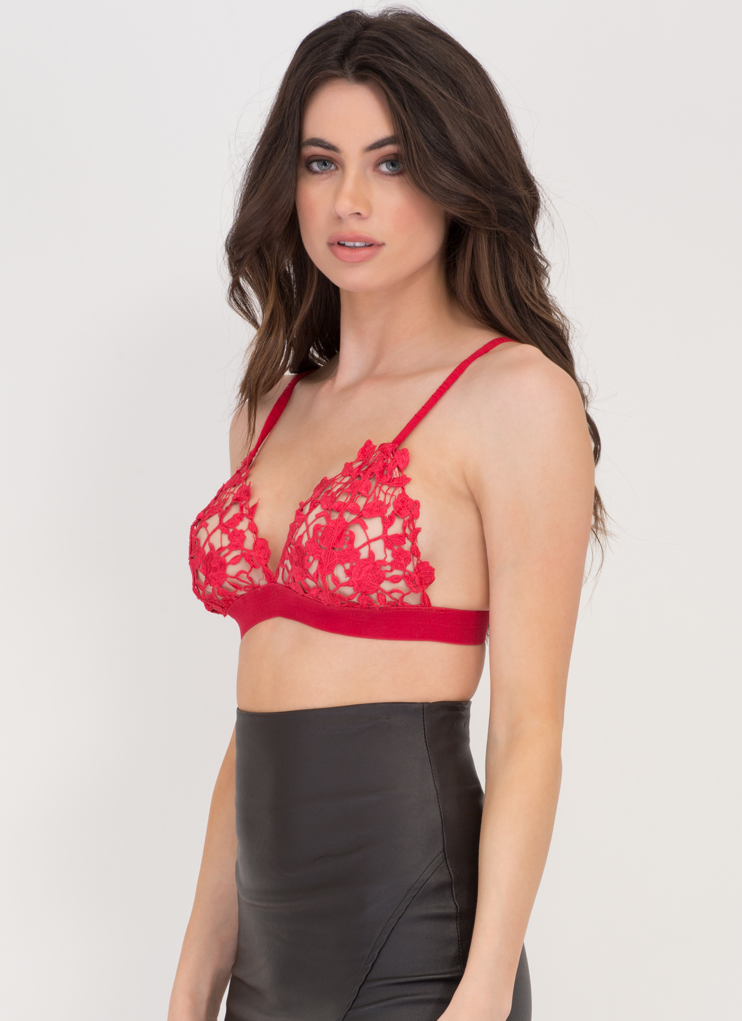 Making Romance Crochet Bra Top RED