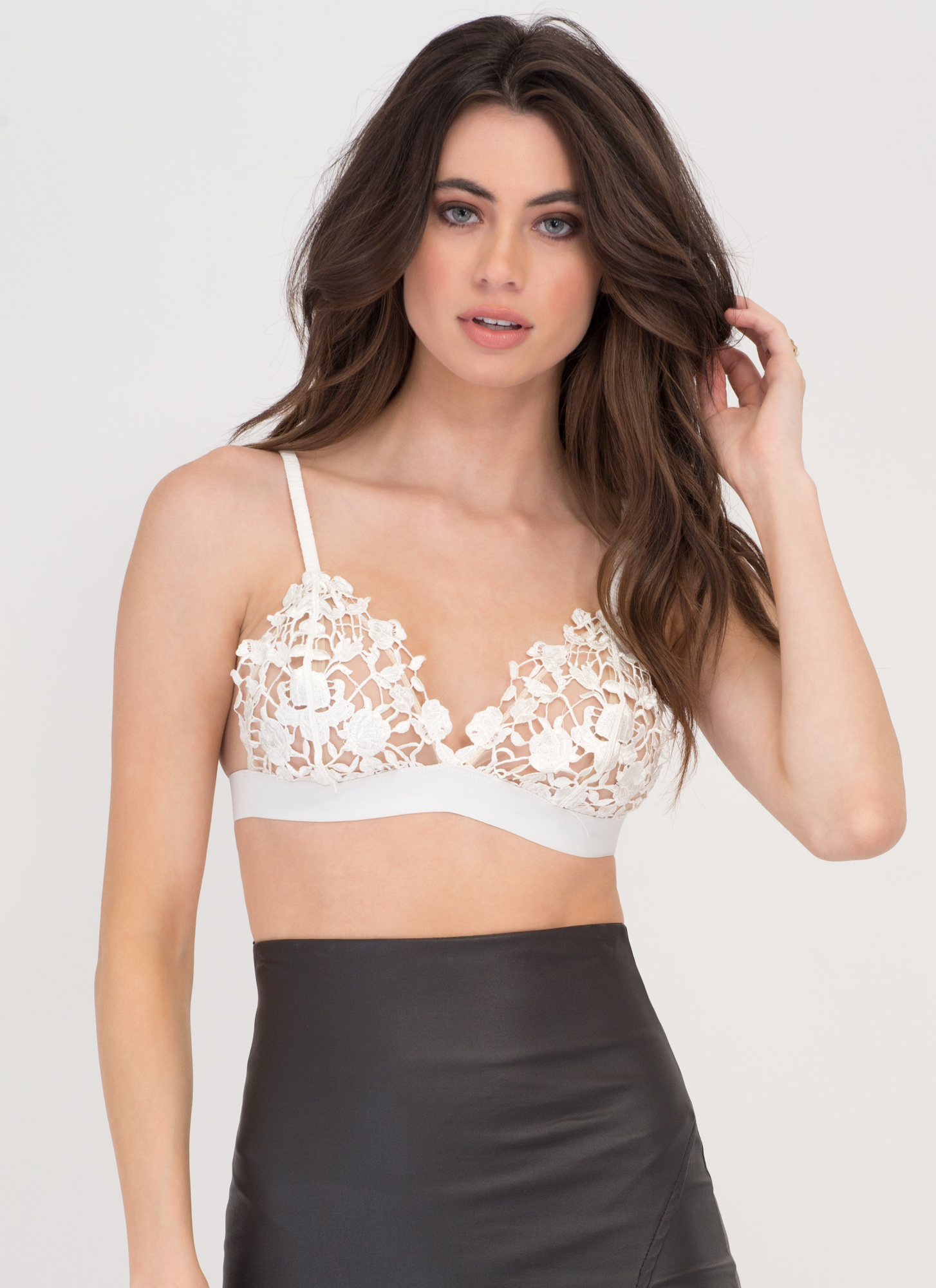 Making Romance Crochet Bra Top WHITE