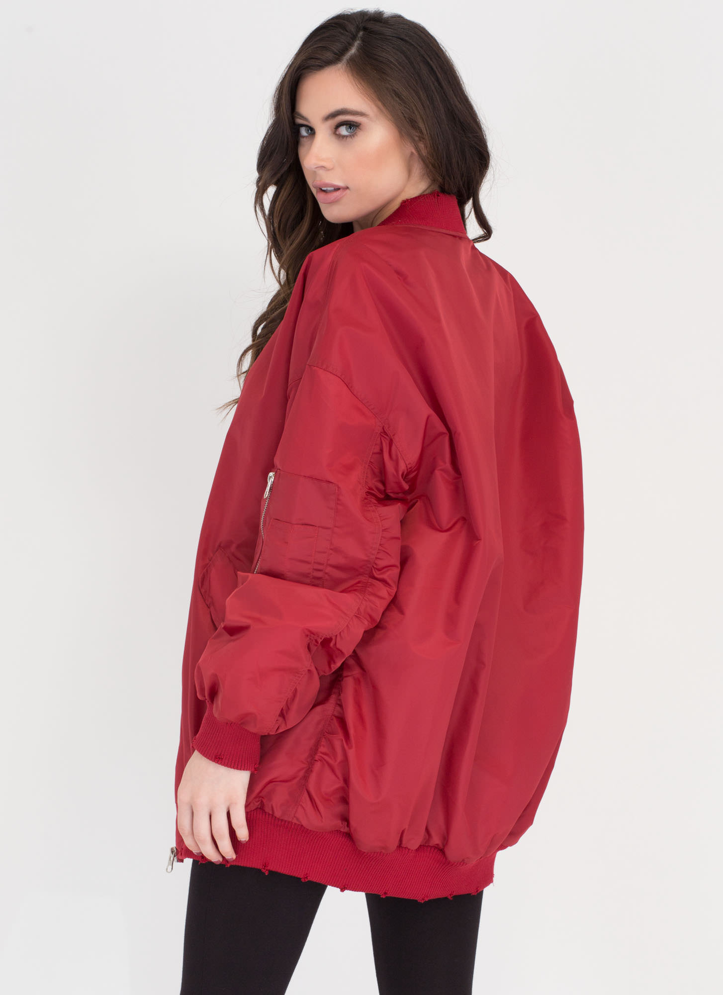 Go Long Padded Zip-Up Bomber Jacket RED