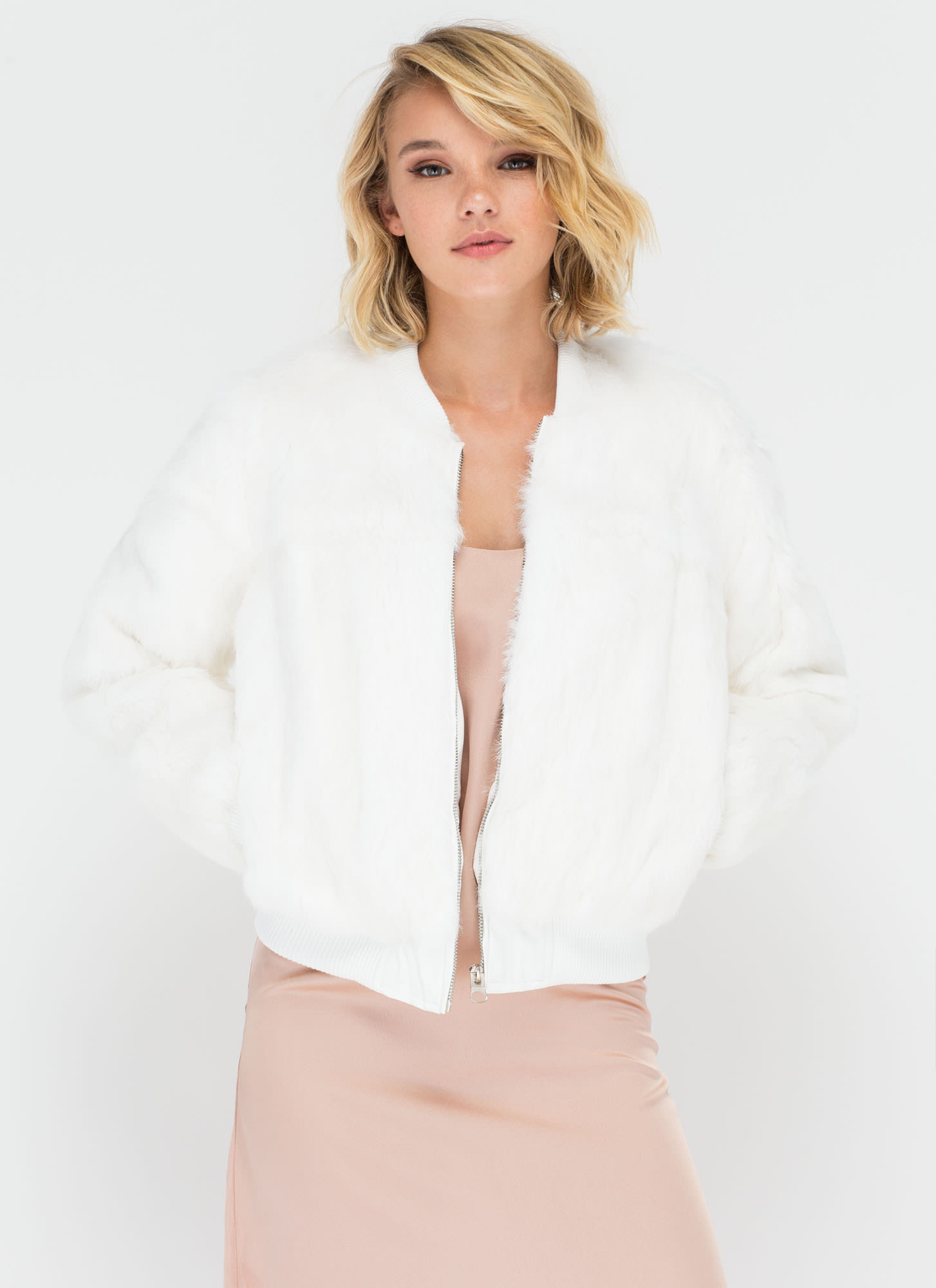 All Fur One Zip-Up Bomber Jacket WHITE