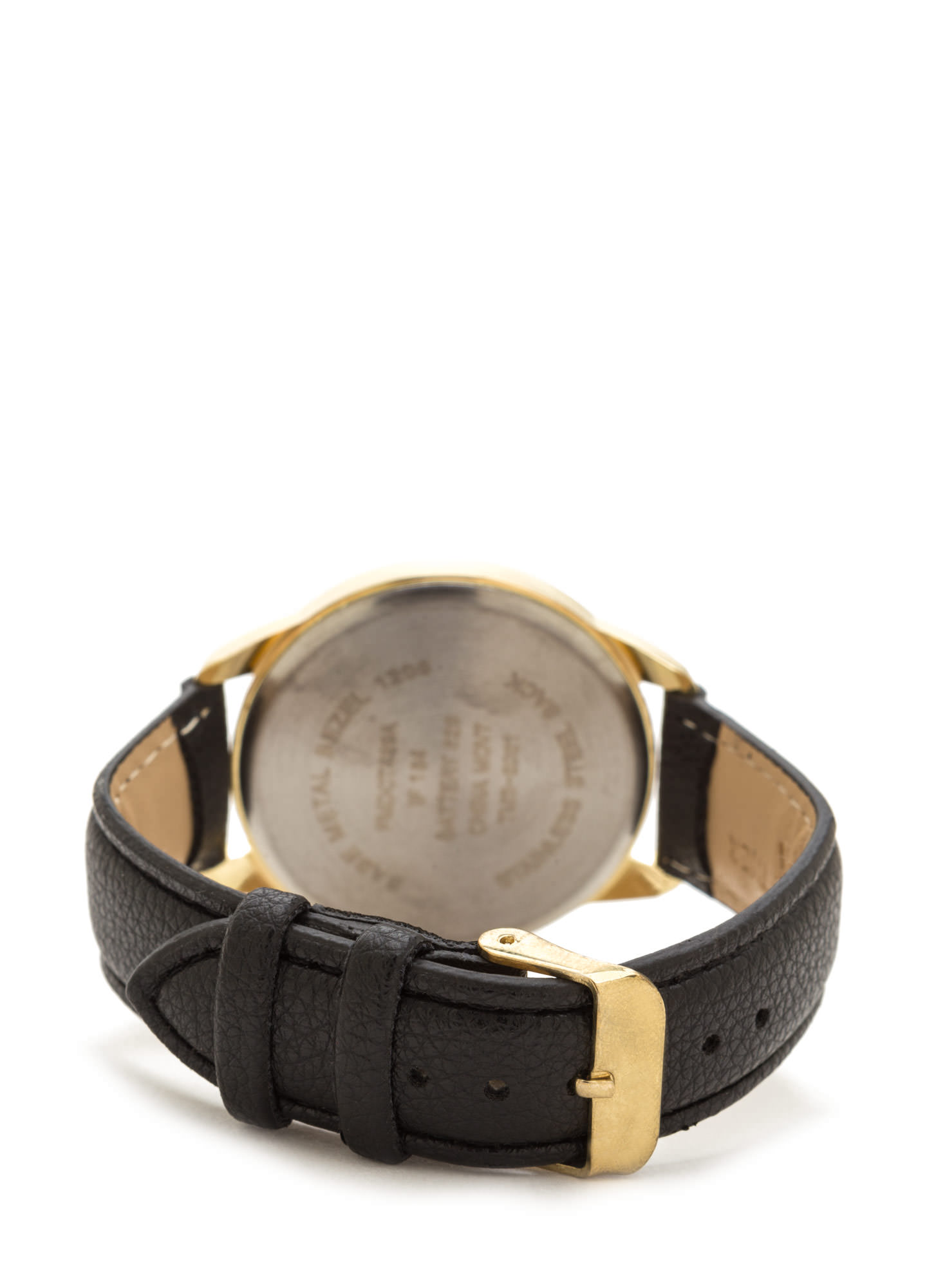 Knick Of Time Faux Leather Watch GOLDBLACK