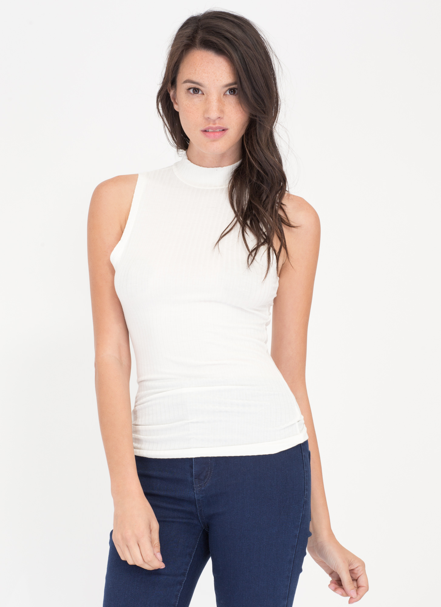 Simple Idea Ribbed Mockneck Top WHITE