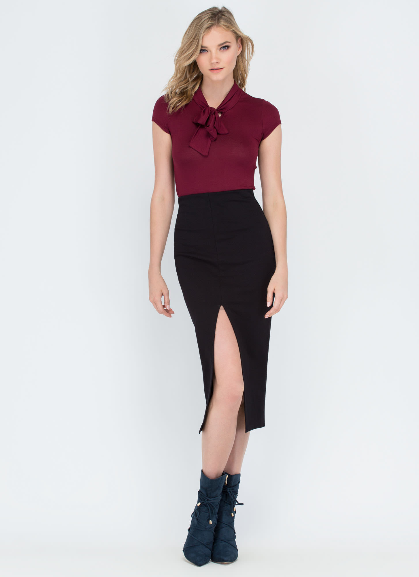 Pussy Bow For It Short-Sleeve Top BURGUNDY