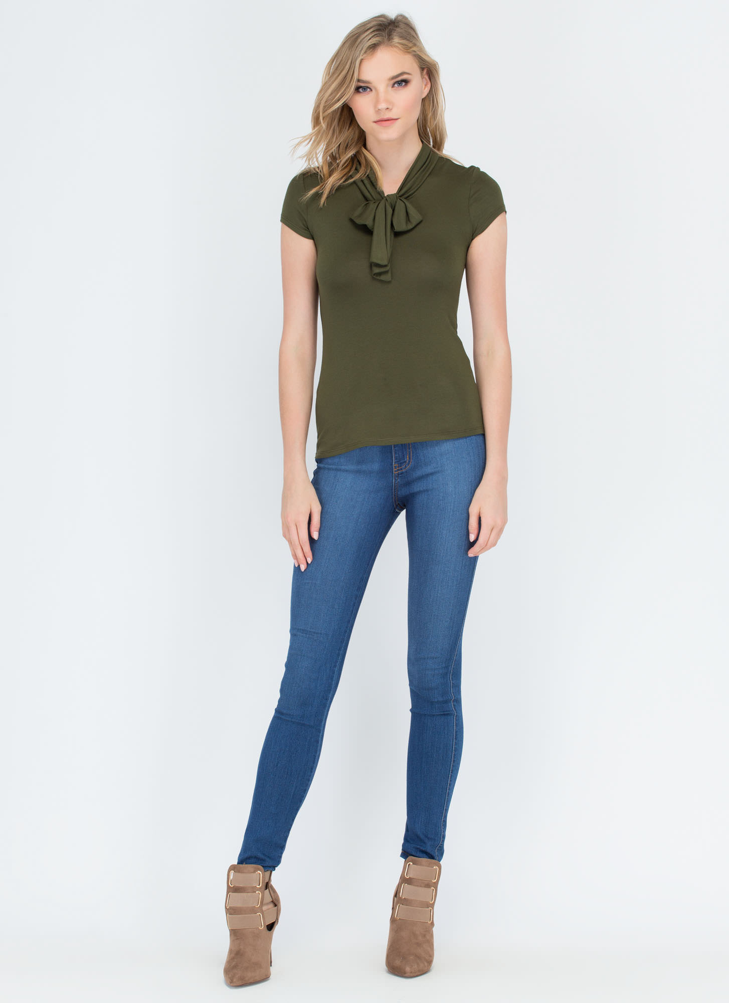Pussy Bow For It Short-Sleeve Top OLIVE
