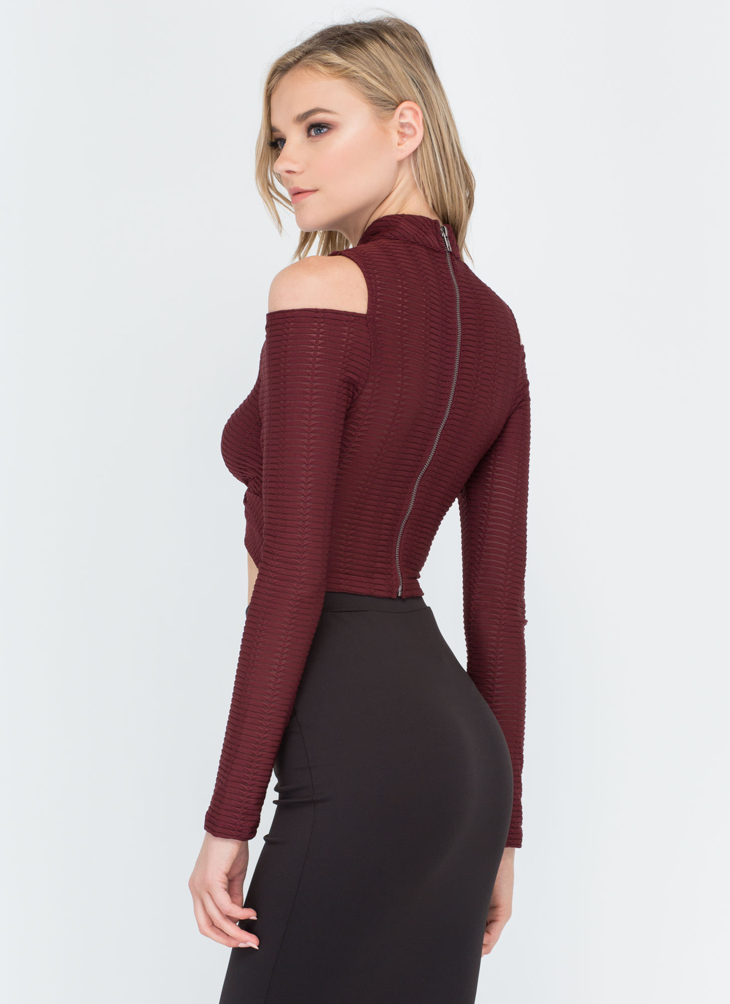 Linear Equation Cold Shoulder Crop Top BURGUNDY