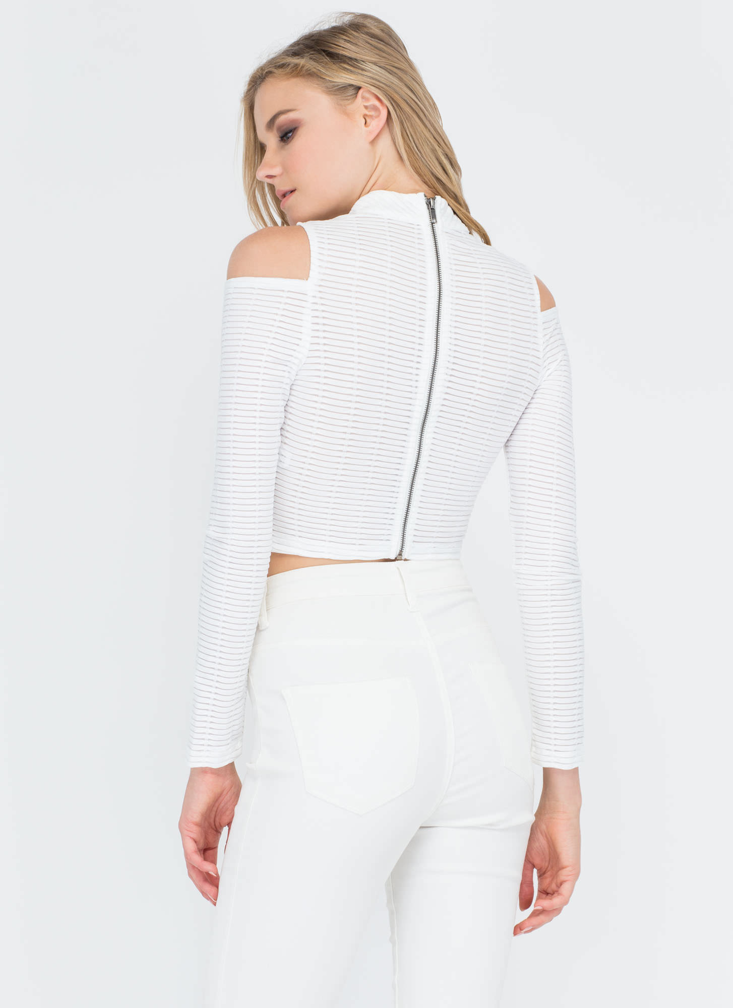 Linear Equation Cold Shoulder Crop Top WHITE