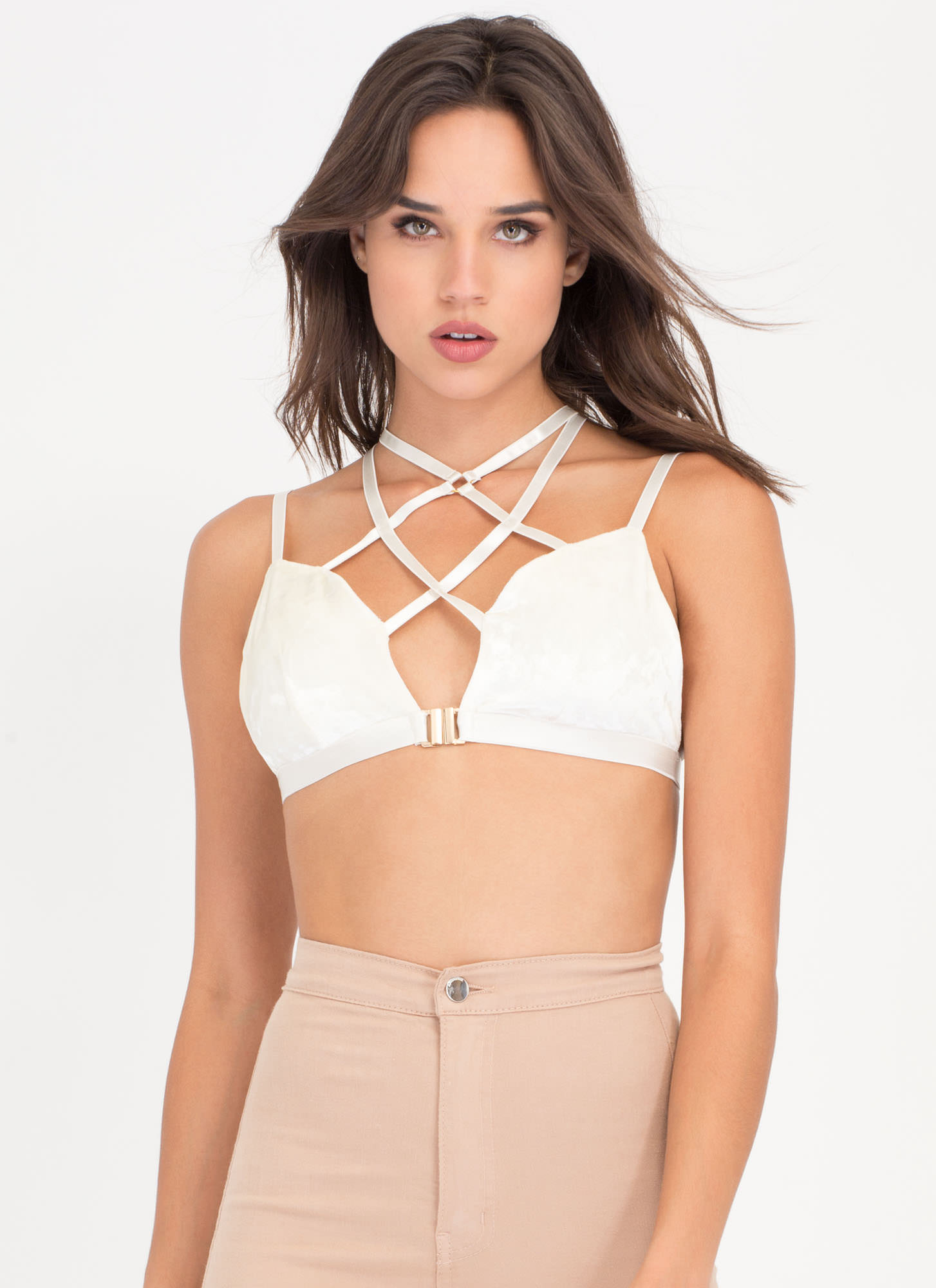 I Love The 90s Caged Velvet Bralette WHITE