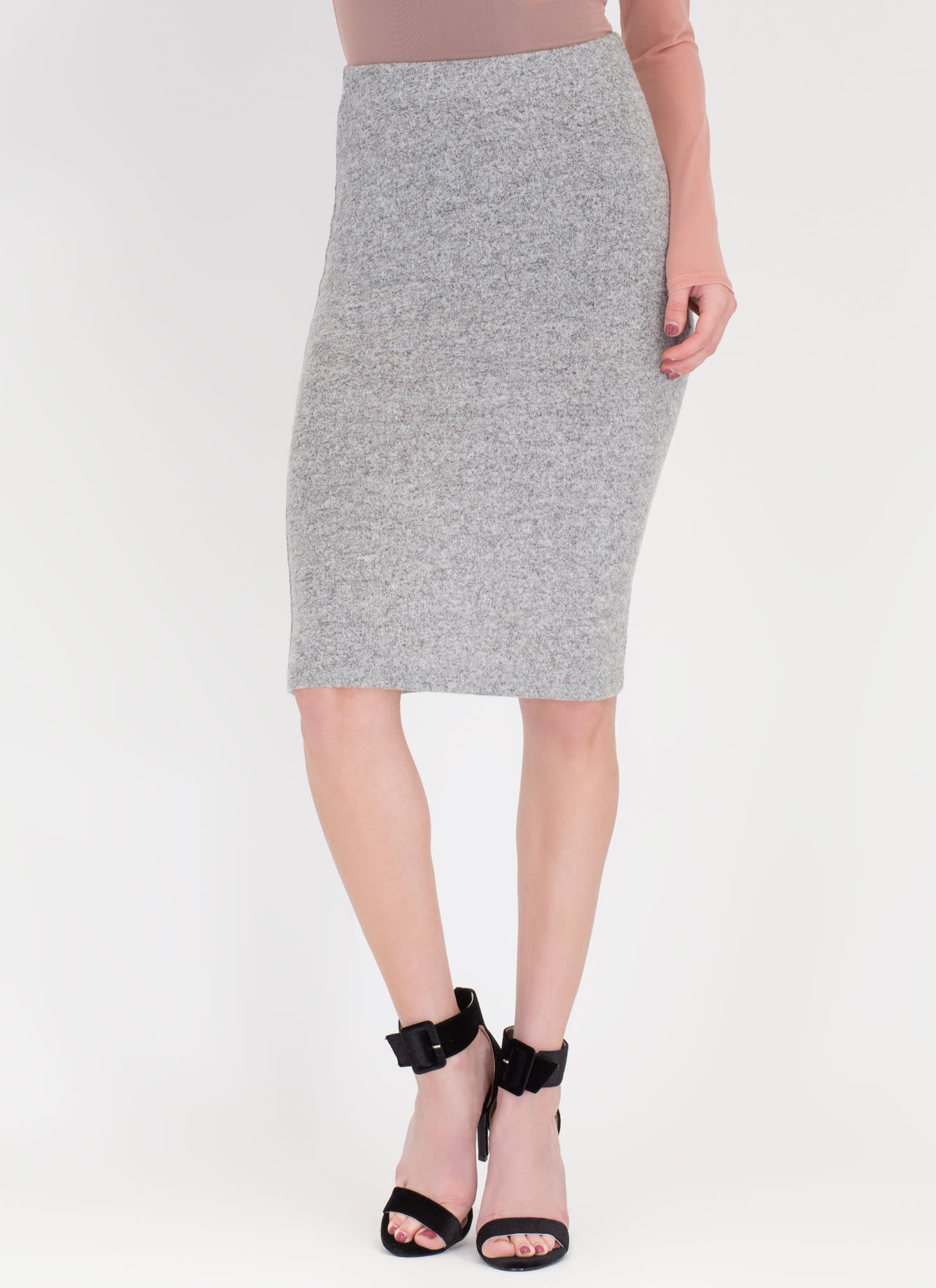 Such A Softie Knit Pencil Skirt HGREY