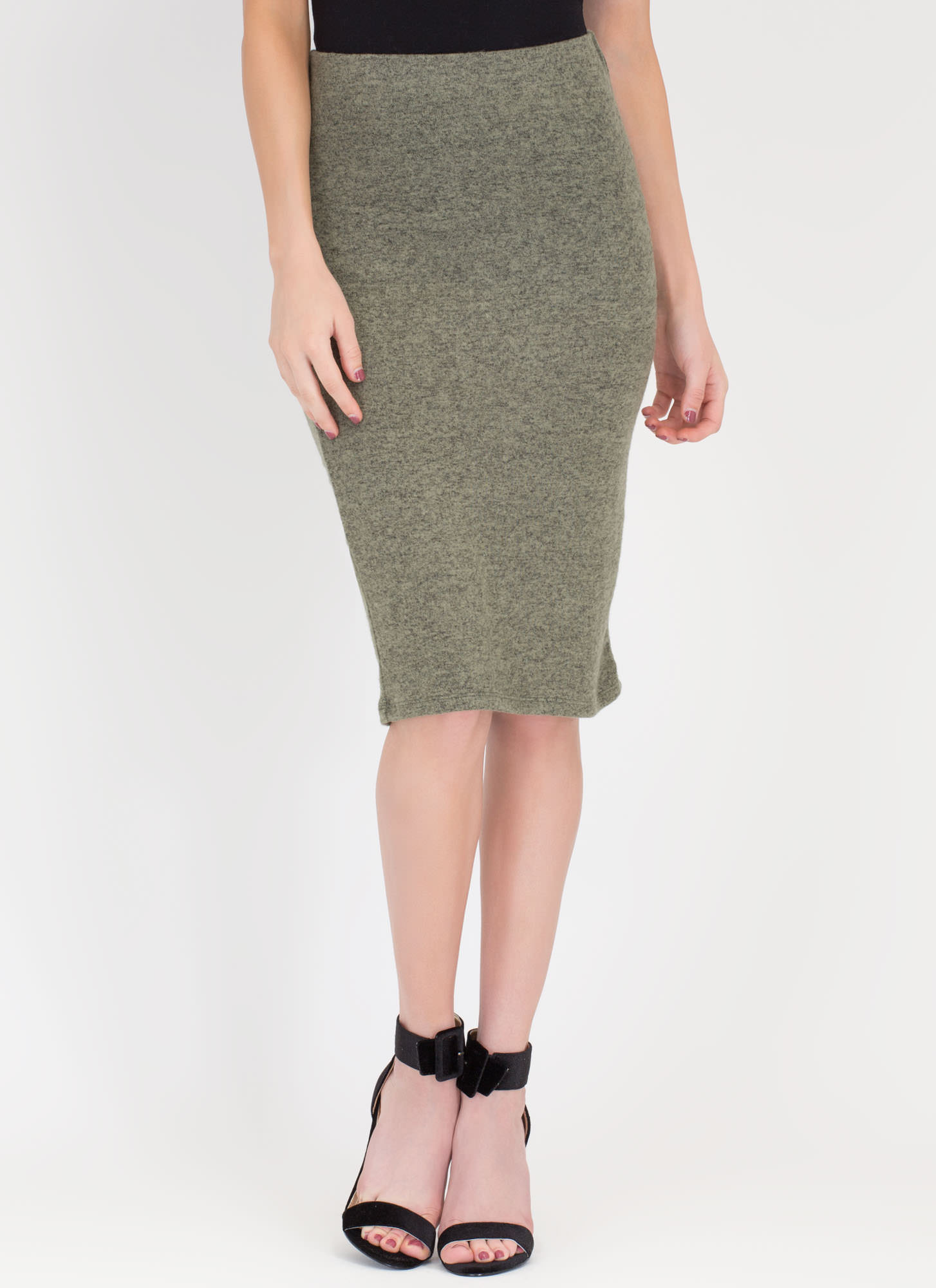 Such A Softie Knit Pencil Skirt OLIVE