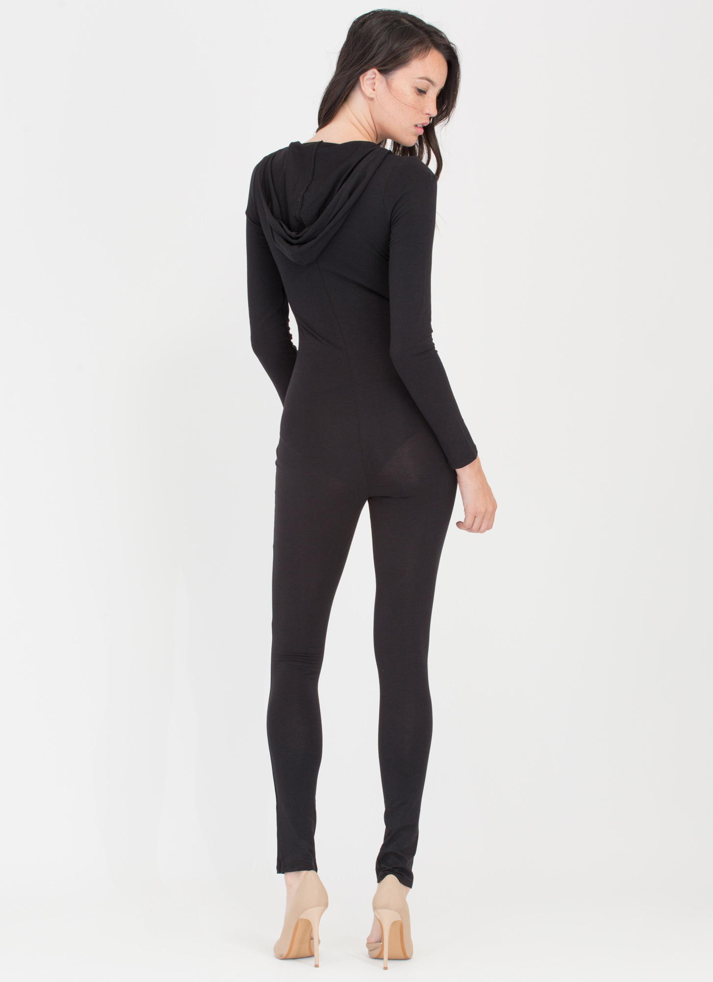 Daily Dose Hooded Zip-Up Full Bodysuit BLACK