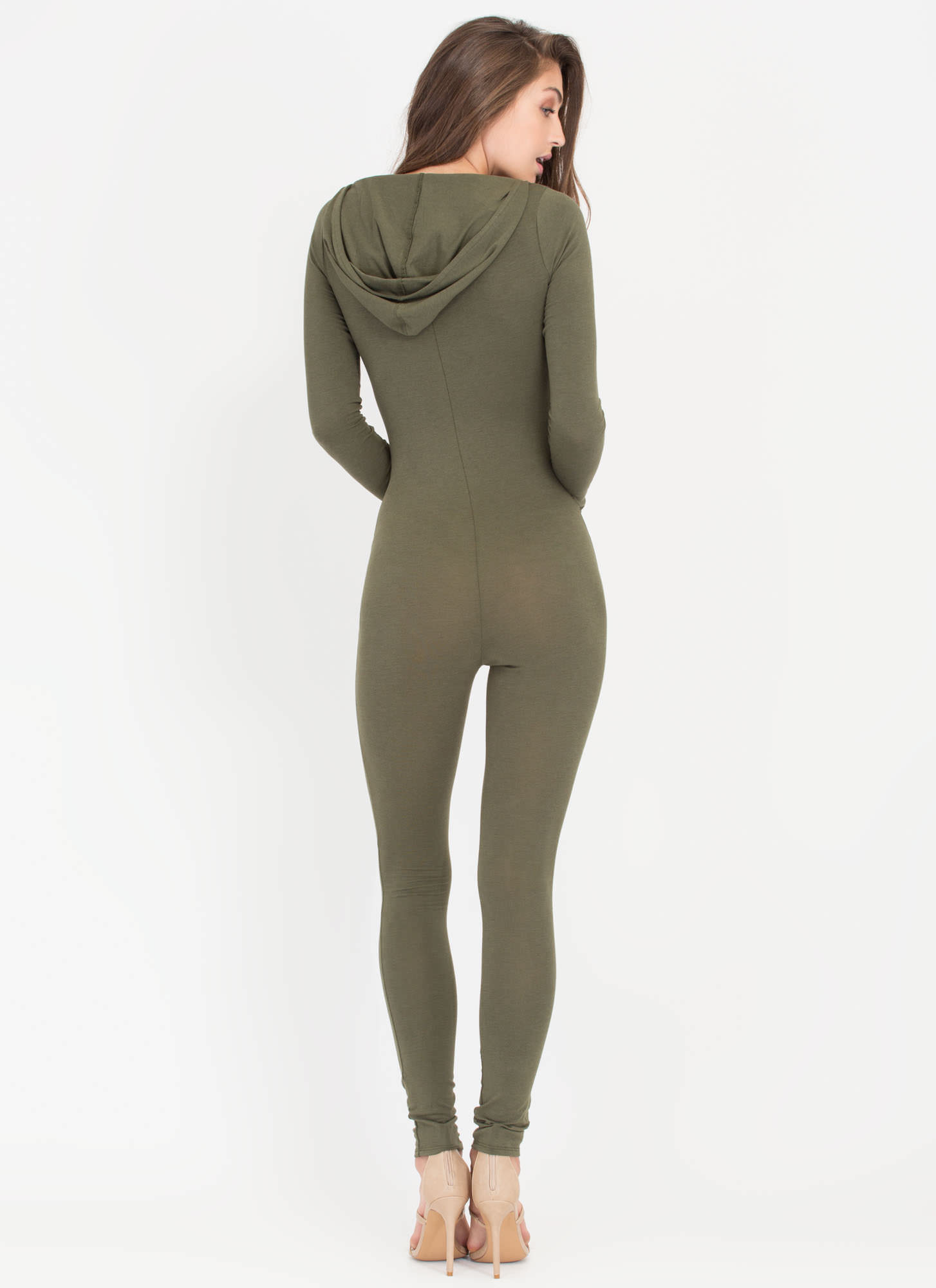 Daily Dose Hooded Zip-Up Full Bodysuit OLIVE