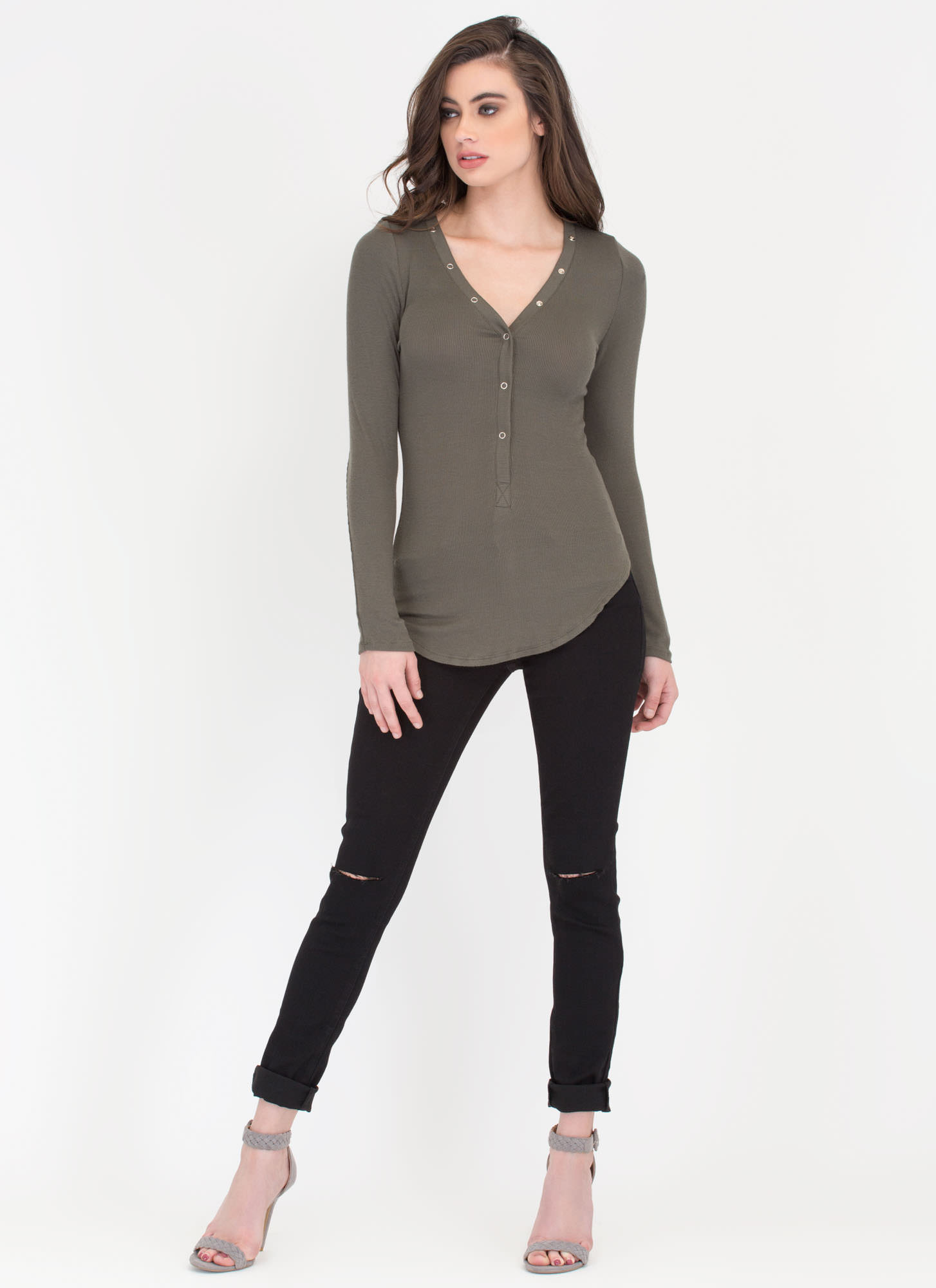 Snap To It Ribbed Henley Top OLIVE