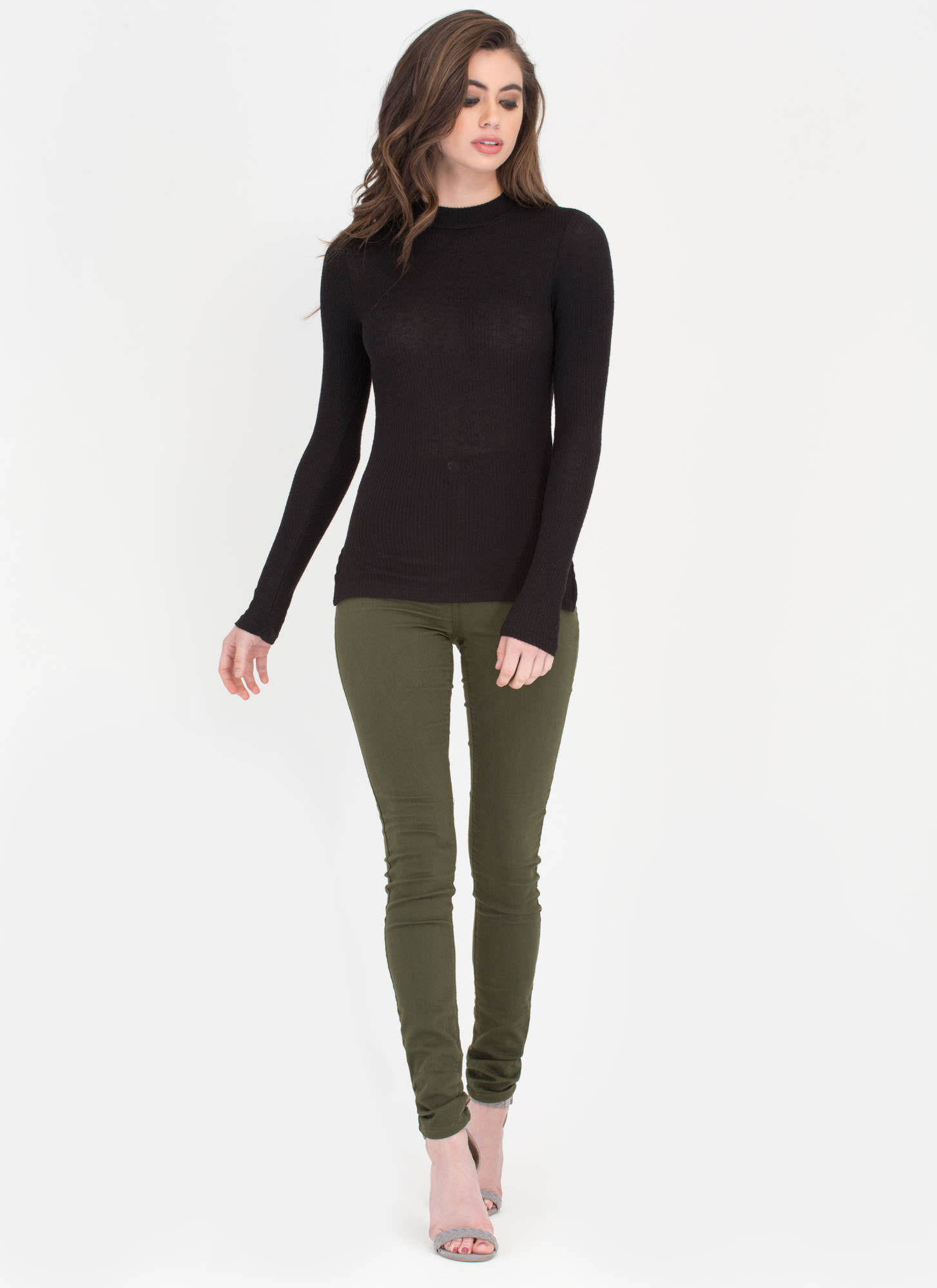 What A Softie Ribbed Mockneck Top BLACK