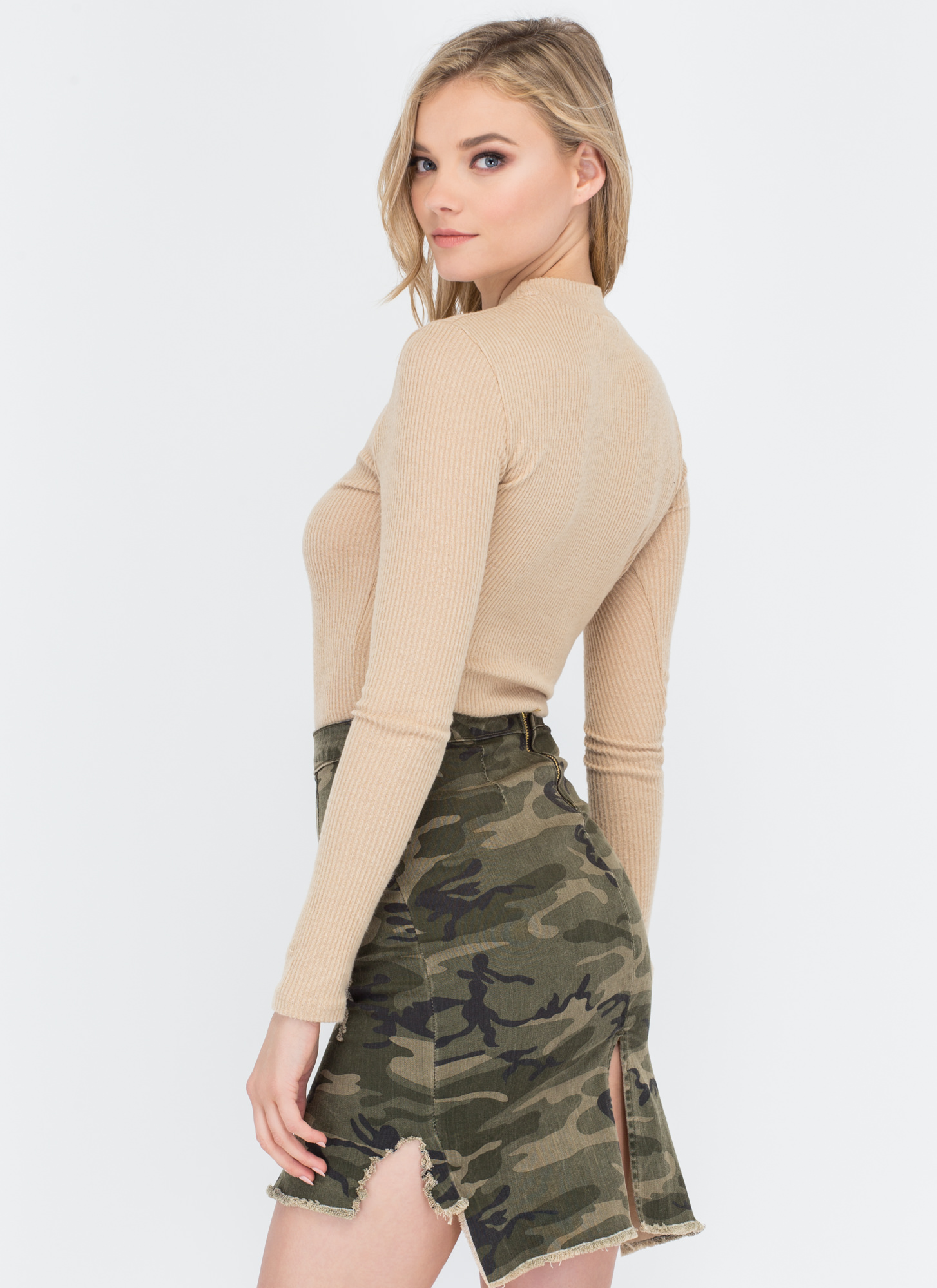 What A Softie Ribbed Mockneck Top CAMEL