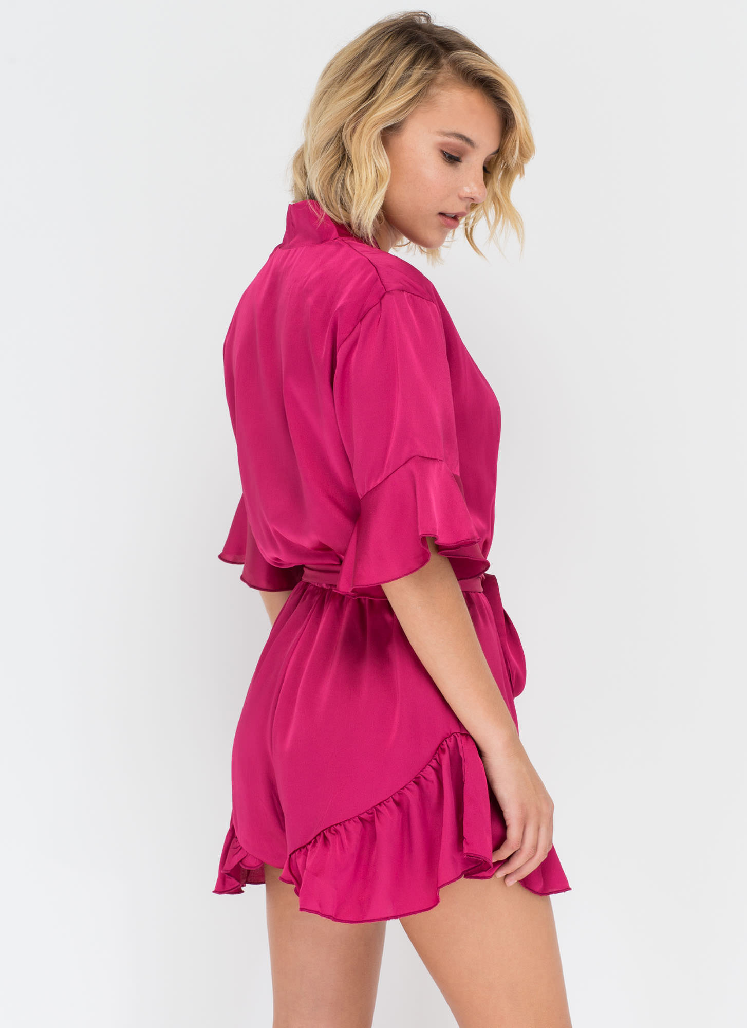 Get The Look Ruffled Satin Romper MAGENTA