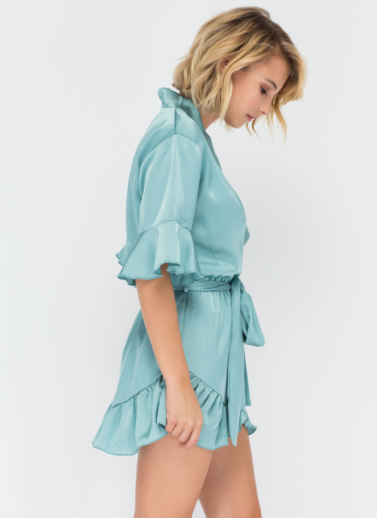 Get The Look Ruffled Satin Romper SEAFOAM