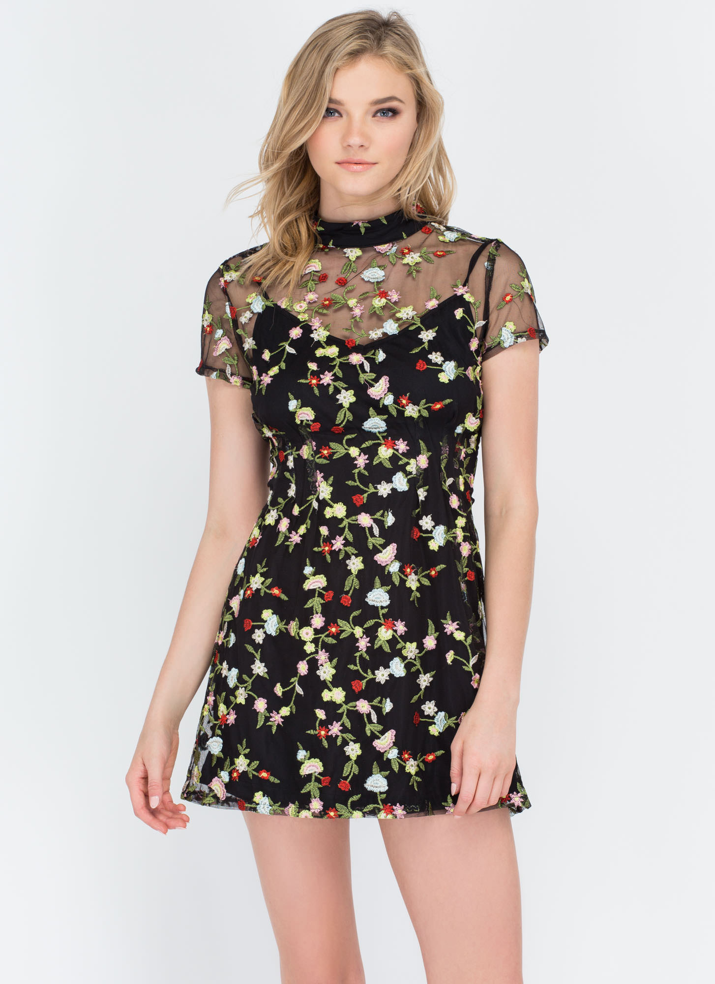 Floral Character Embroidered Minidress BLACK