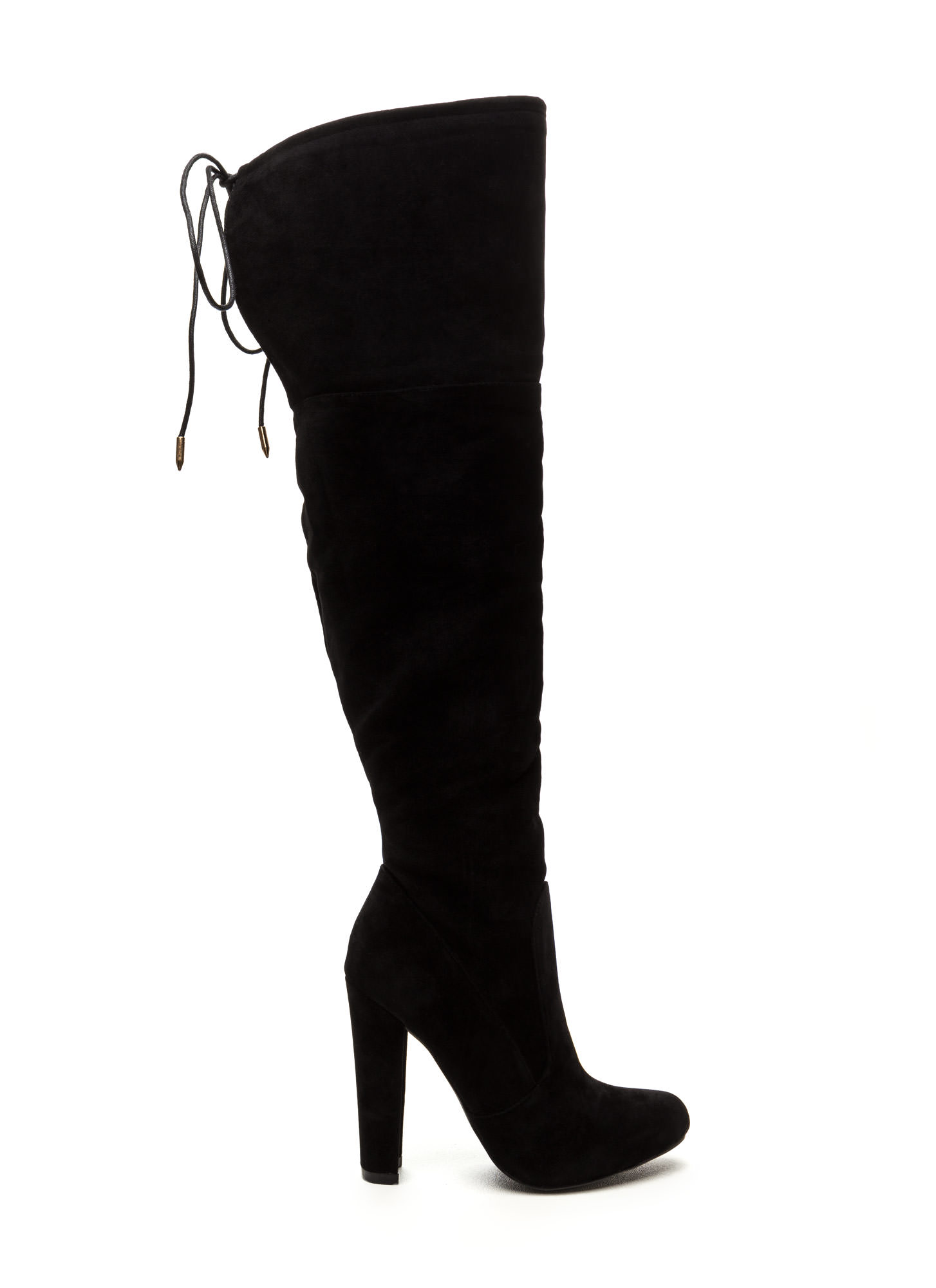 Tied Down Chunky Over-The-Knee Boots BLACK