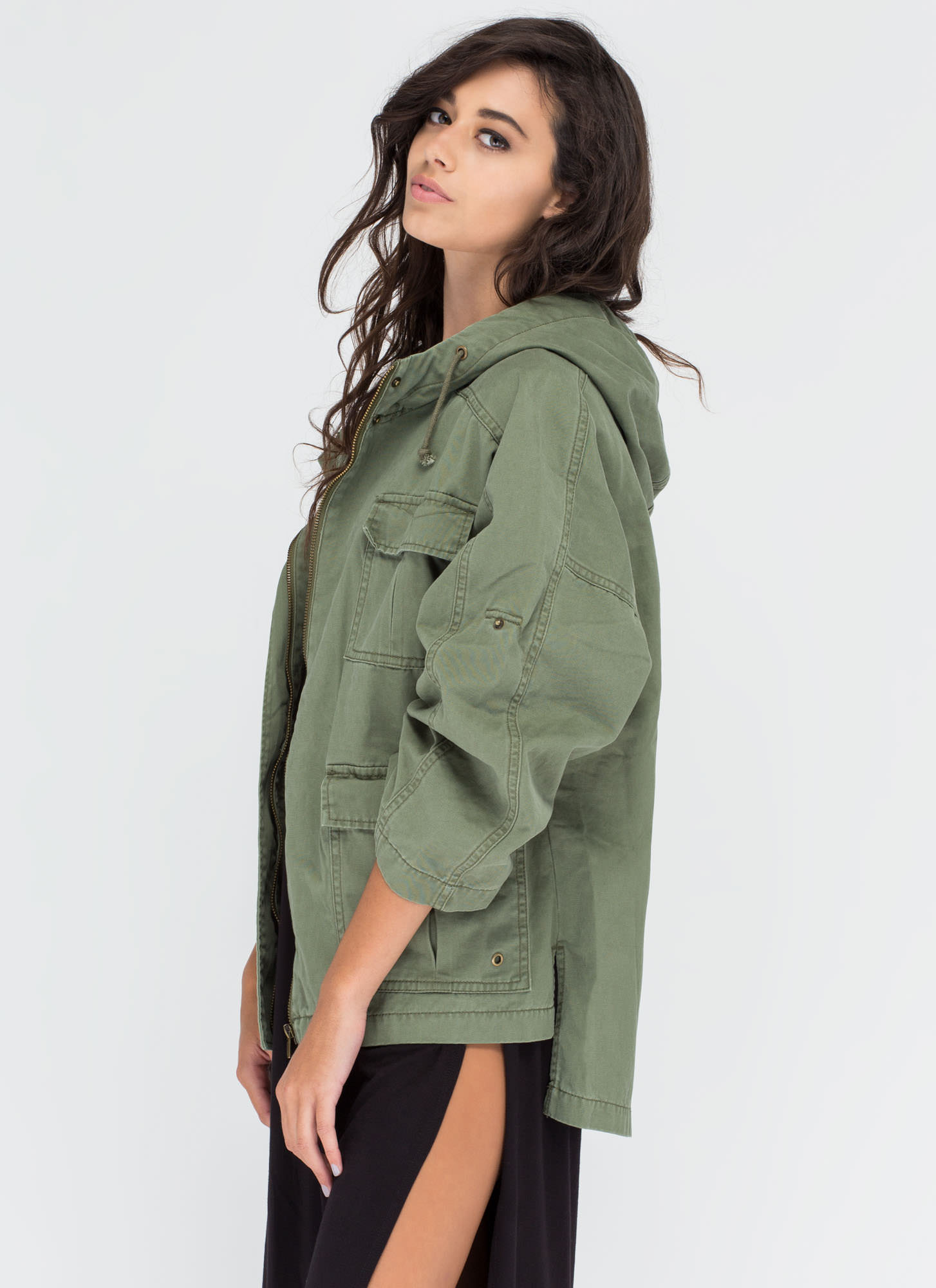 All Day Every Day Hooded Cargo Jacket OLIVE