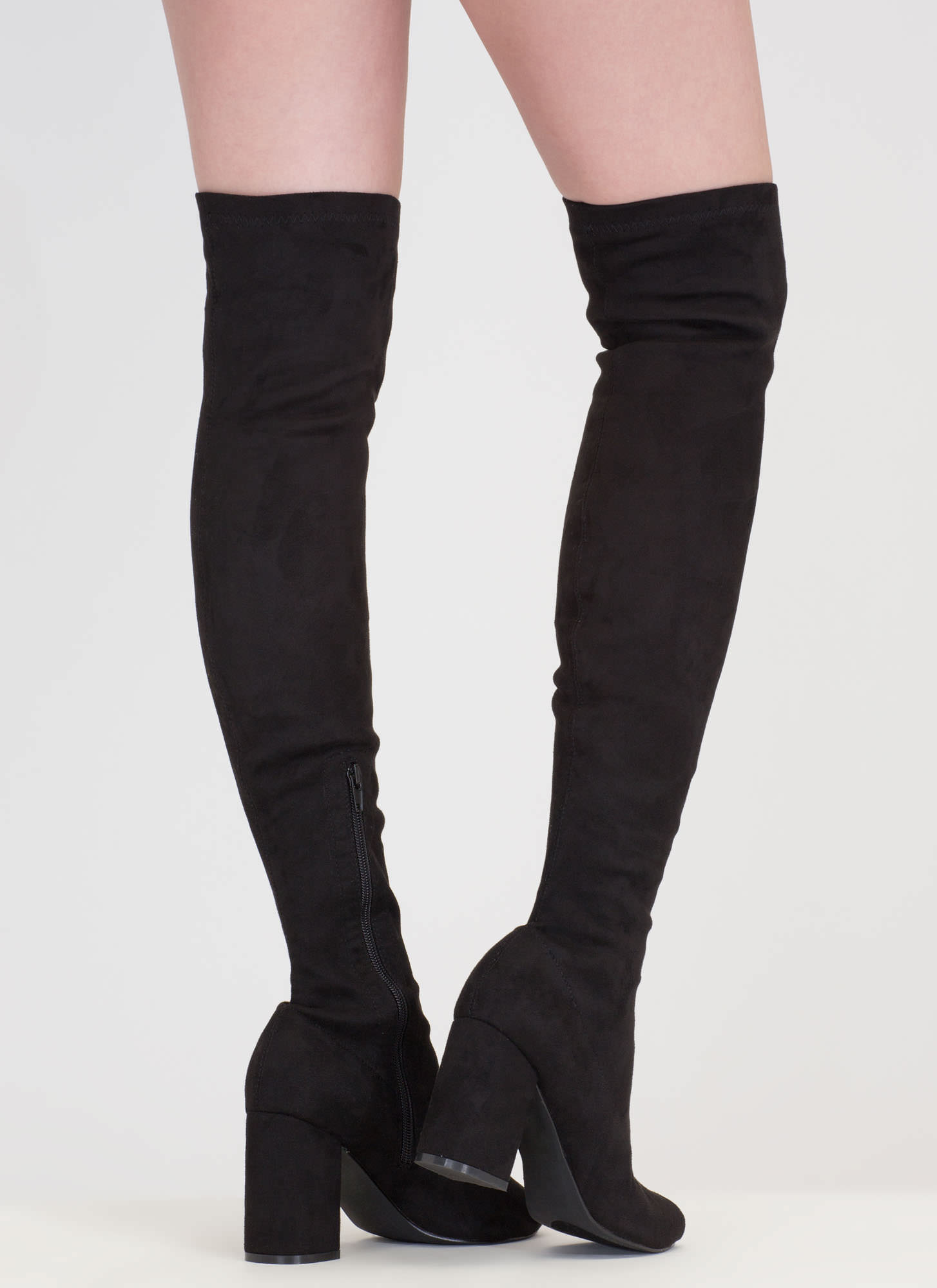 Tall Tale Over-The-Knee Chunky Boots BLACK