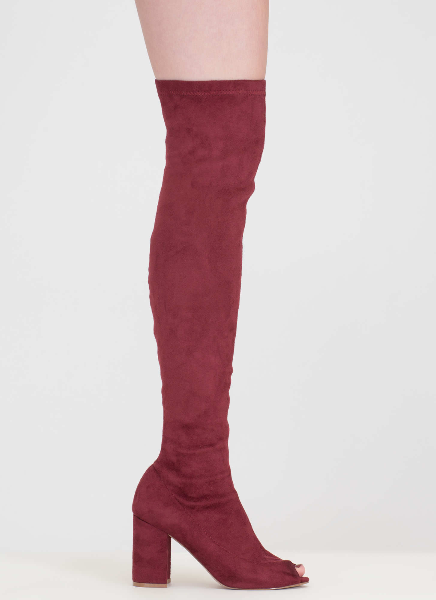 Tall Tale Over-The-Knee Chunky Boots WINE