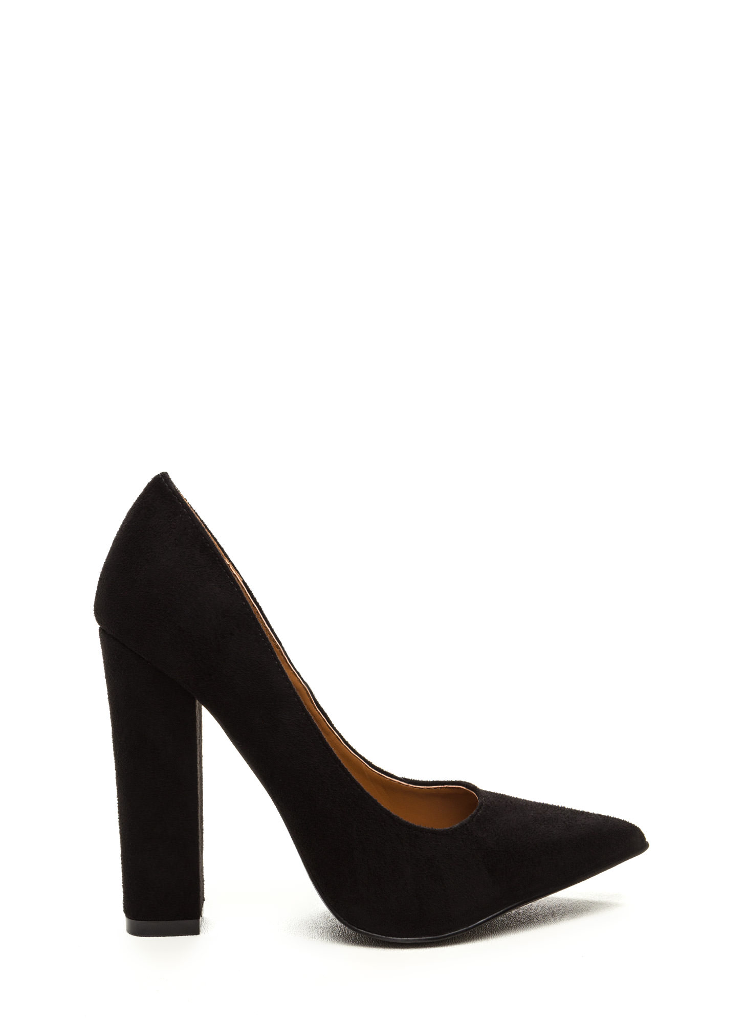 Point 'N Chic Chunky Faux Suede Pumps BLACK