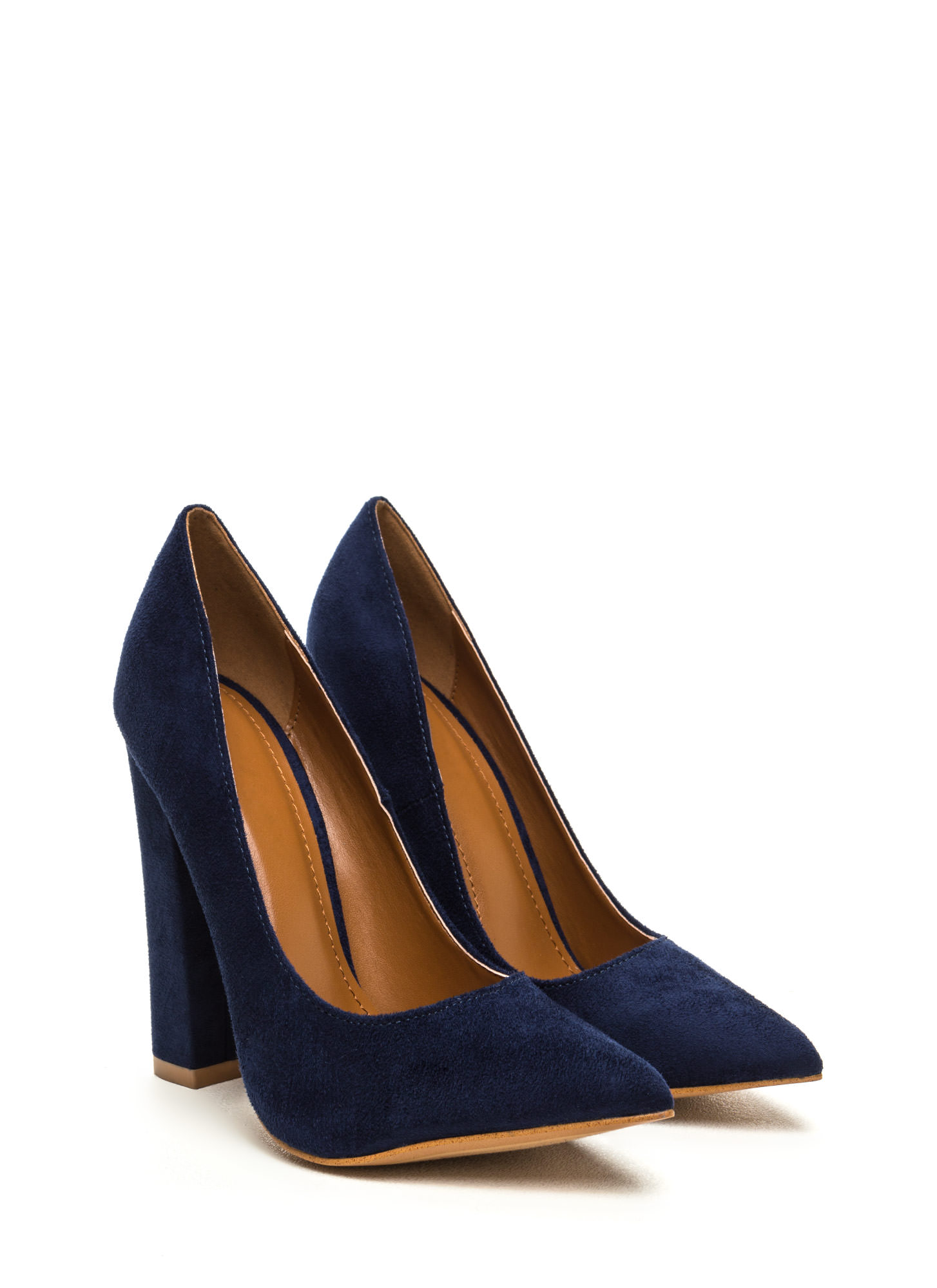 Point 'N Chic Chunky Faux Suede Pumps BLUE