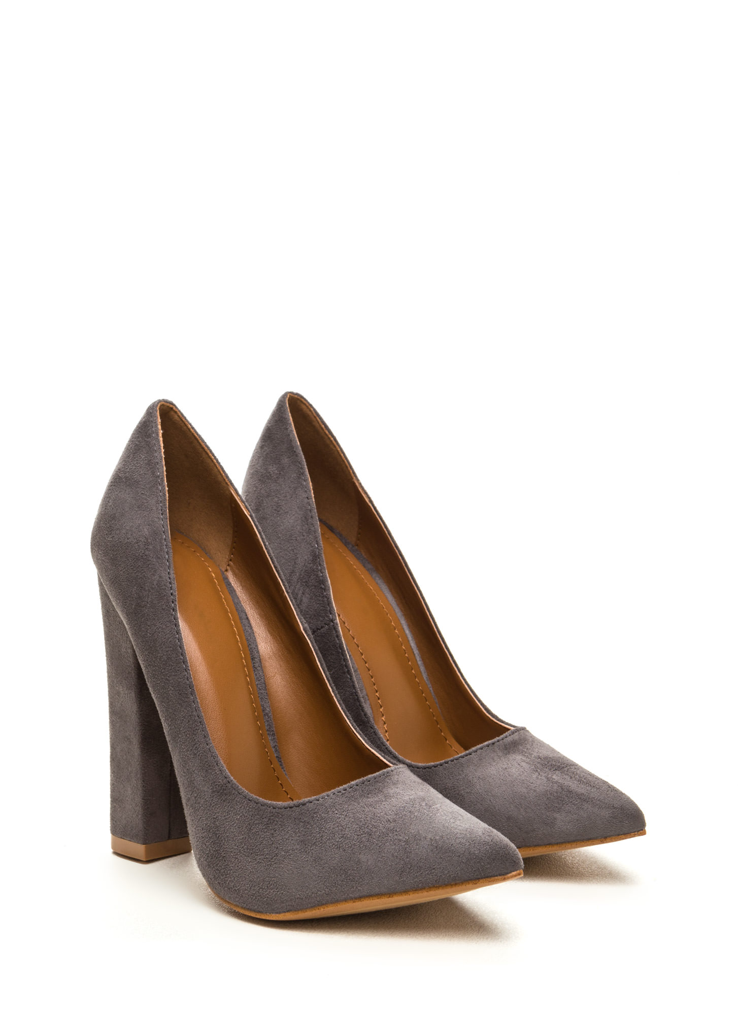 Point 'N Chic Chunky Faux Suede Pumps GREY