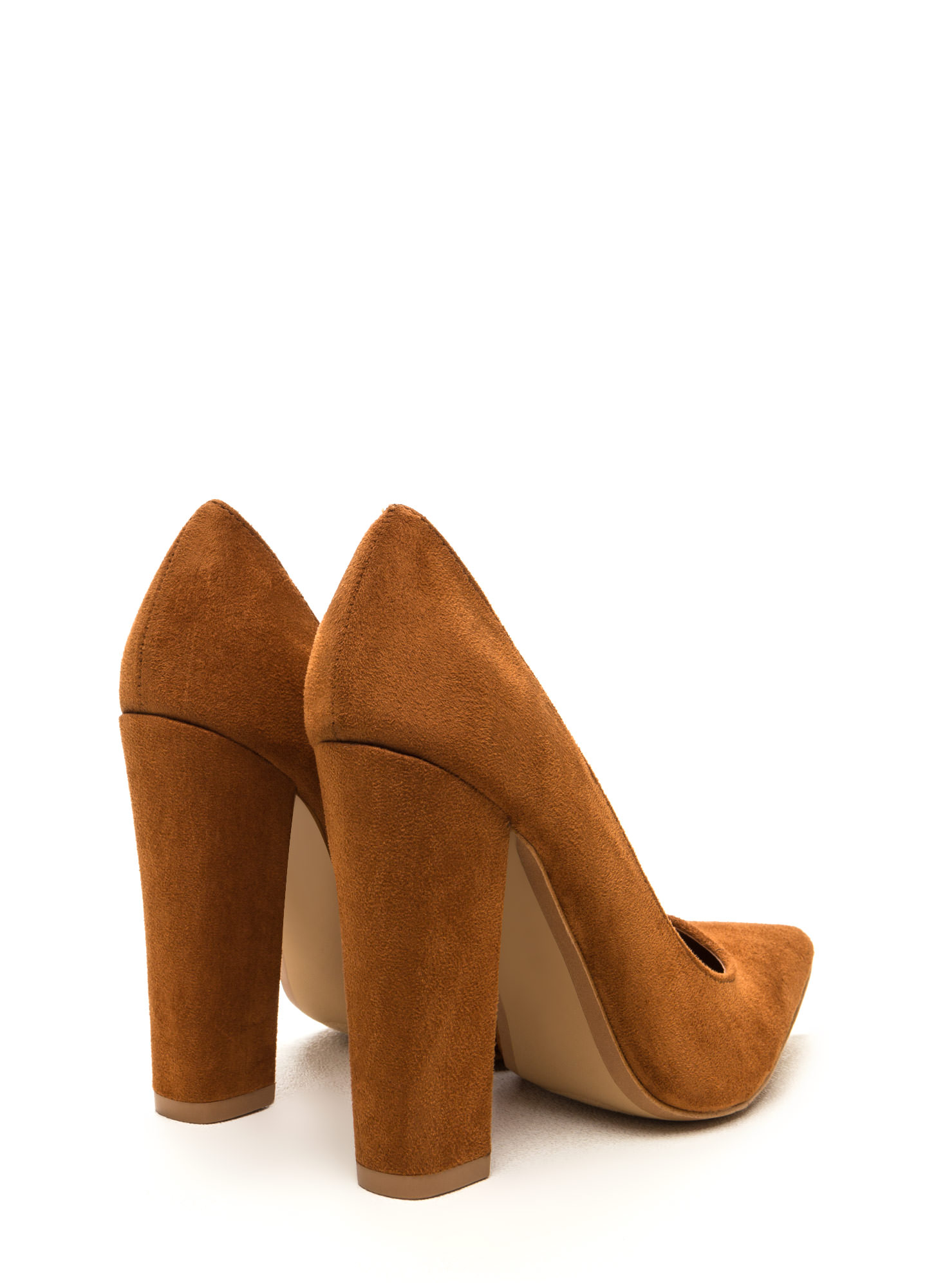 Point 'N Chic Chunky Faux Suede Pumps MOCHA
