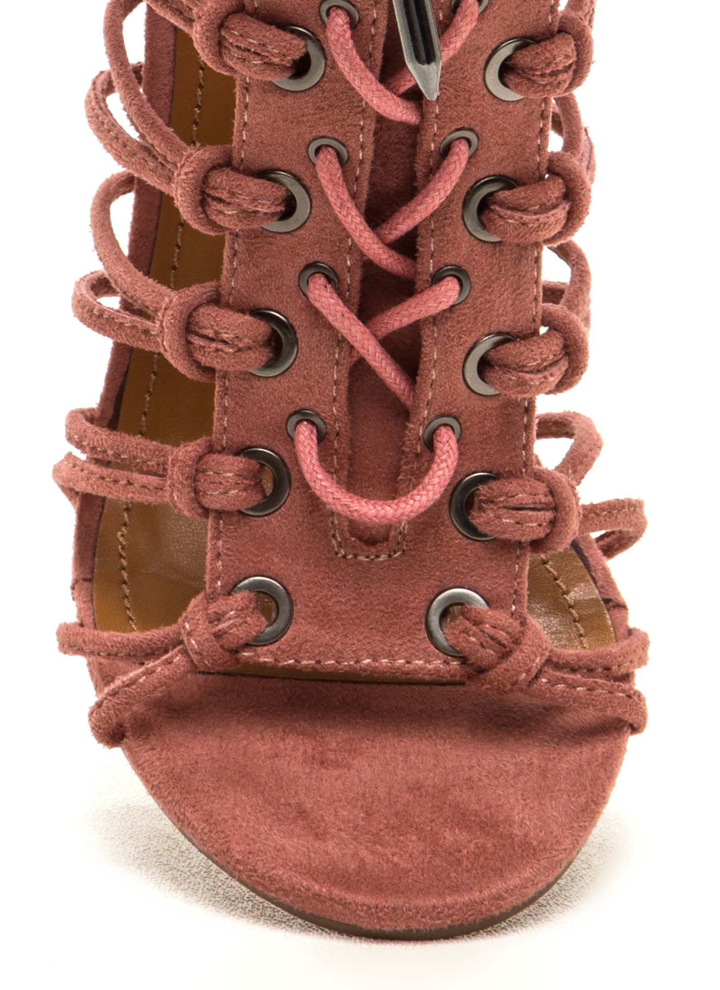 Knotty Girl Chunky Caged Lace-Up Heels BLUSH