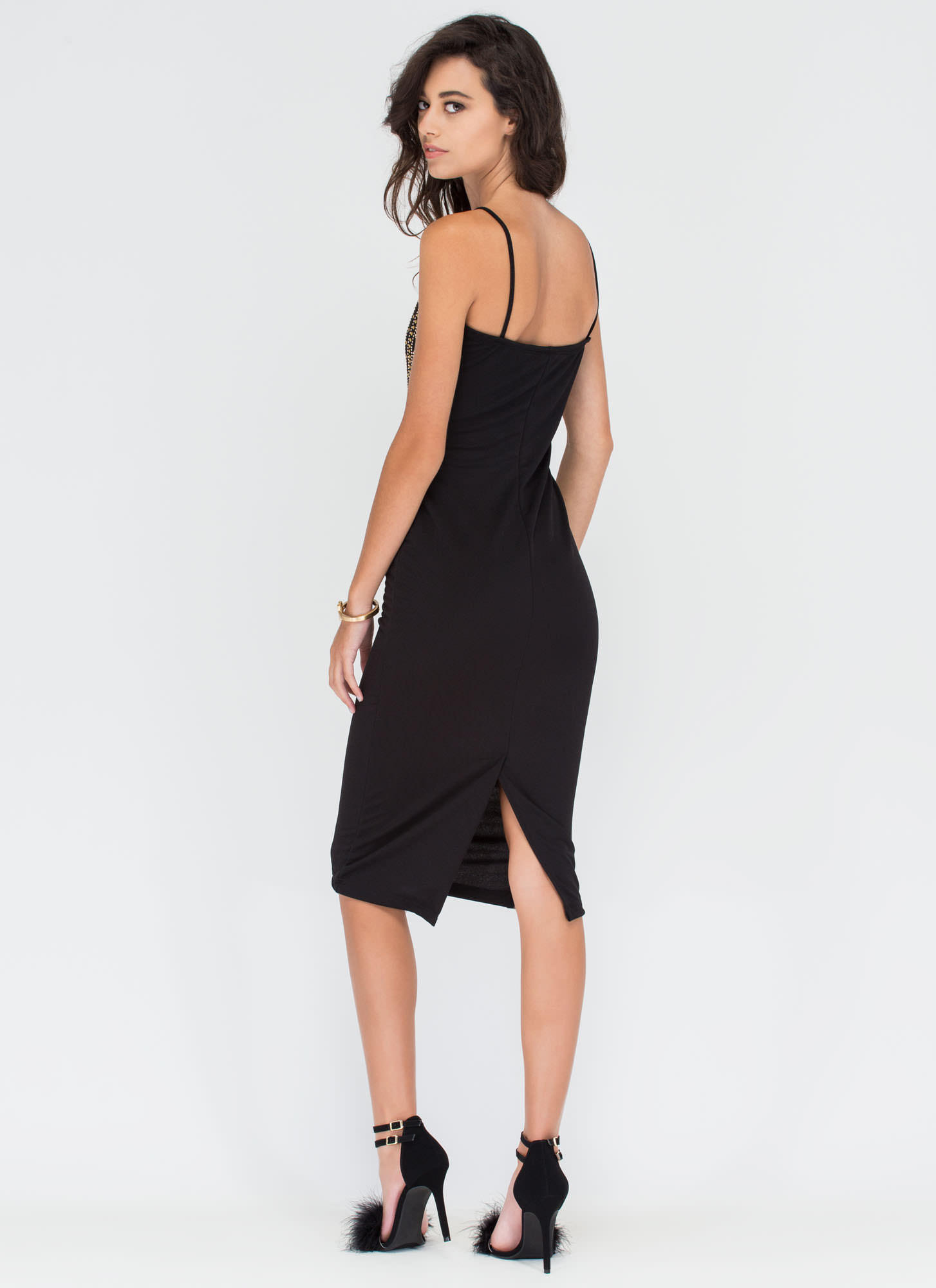 Moment To Swoon Embellished Midi Dress BLACK