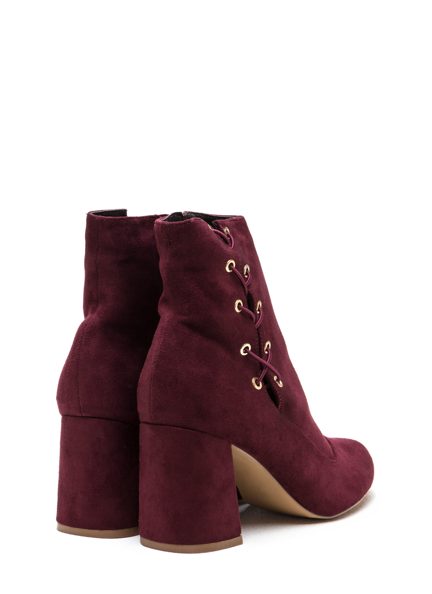 Lace To The Top Chunky Booties BURGUNDY